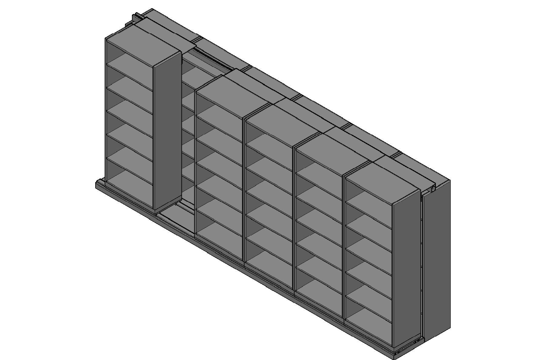 "Box Size Sliding Shelves - 2 Rows Deep - 6 Levels - (30"" x 16"" Shelves) - 184"" Total Width"