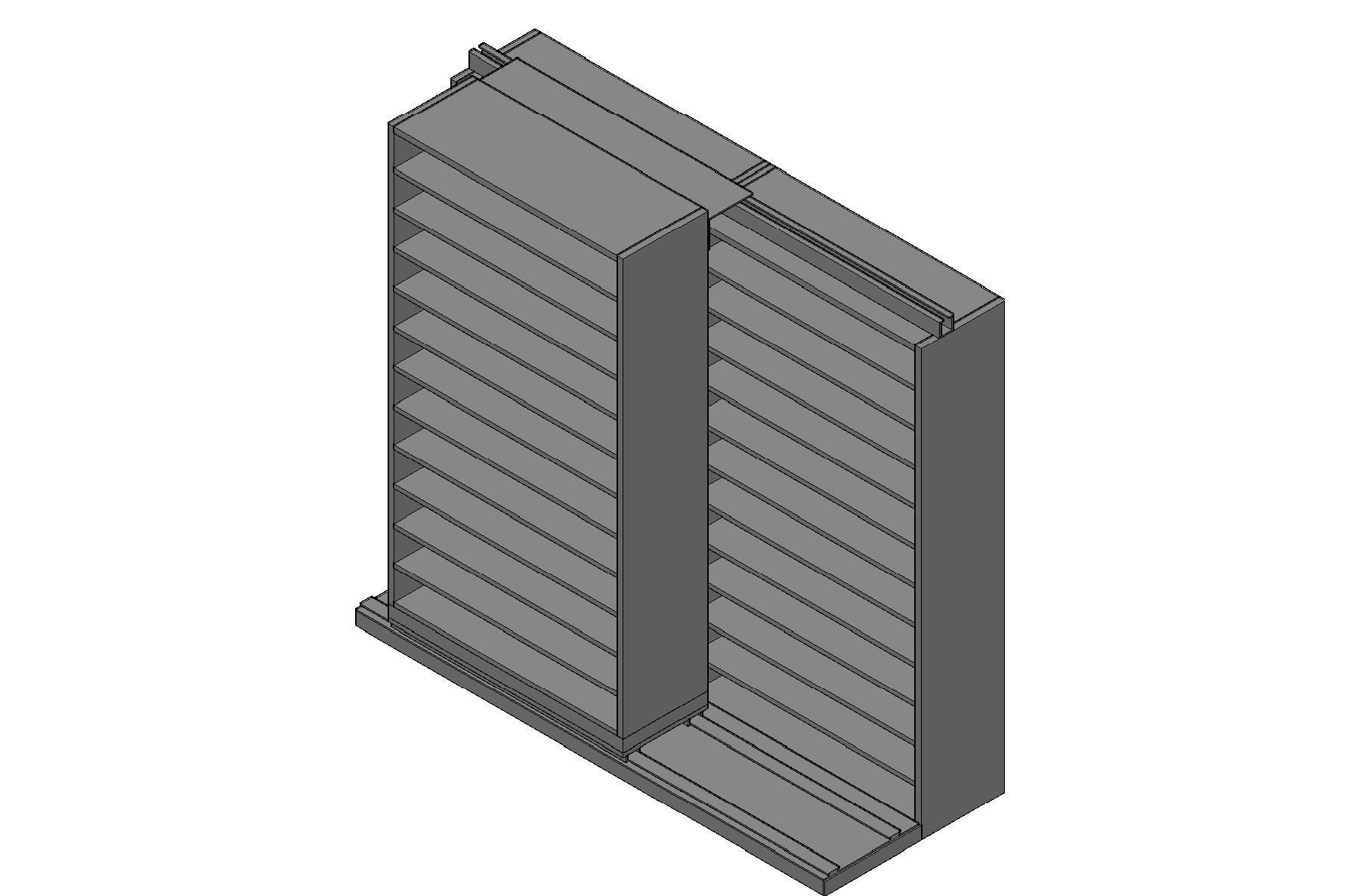 "Bin Size Sliding Shelves - 2 Rows Deep - 12 Levels - (42"" x 15"" Shelves) - 88"" Total Width"
