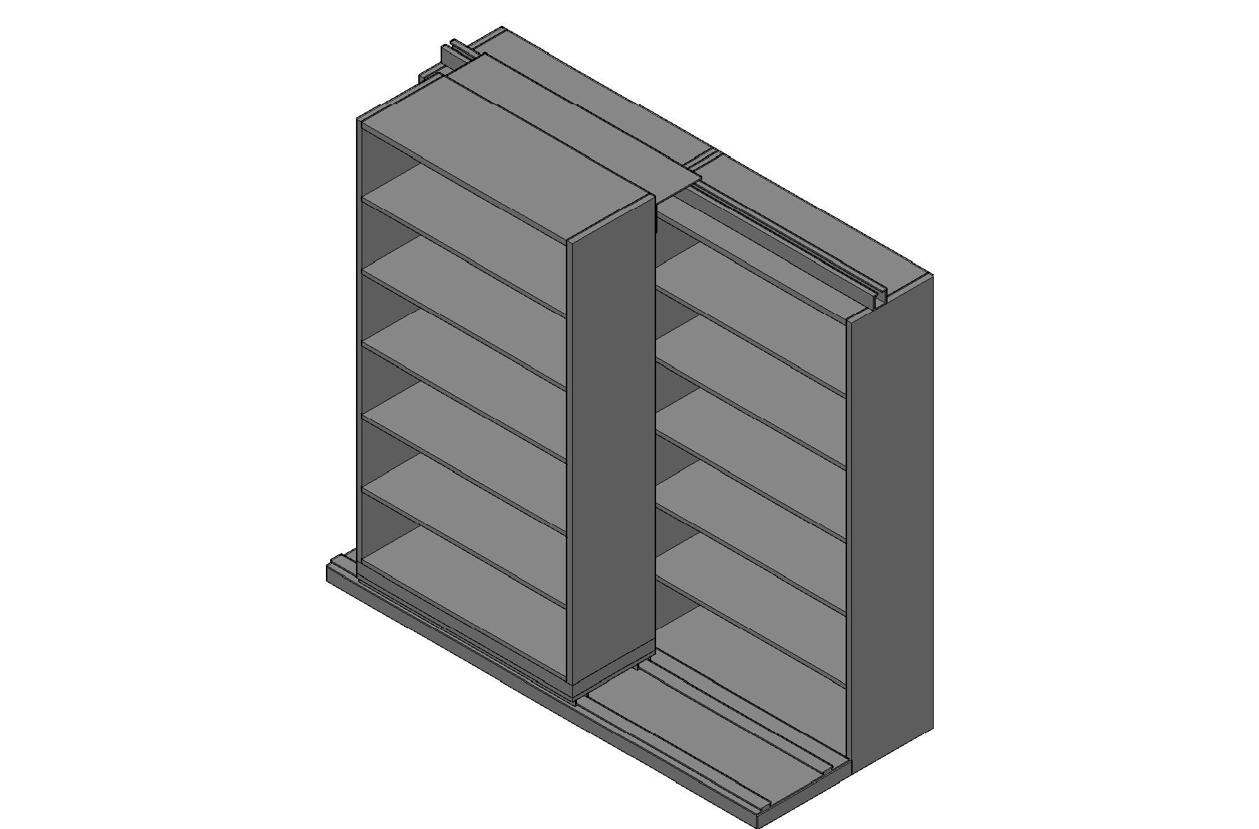 "Box Size Sliding Shelves - 2 Rows Deep - 6 Levels - (42"" x 16"" Shelves) - 88"" Total Width"