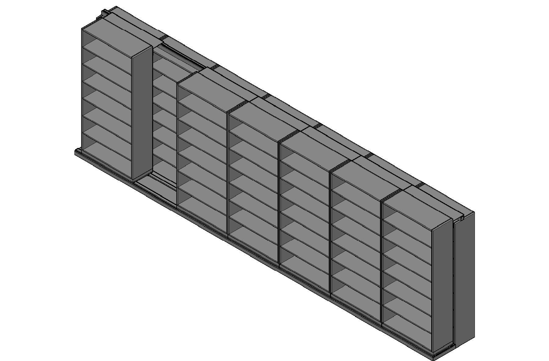 "Box Size Sliding Shelves - 2 Rows Deep - 7 Levels - (42"" x 16"" Shelves) - 298"" Total Width"
