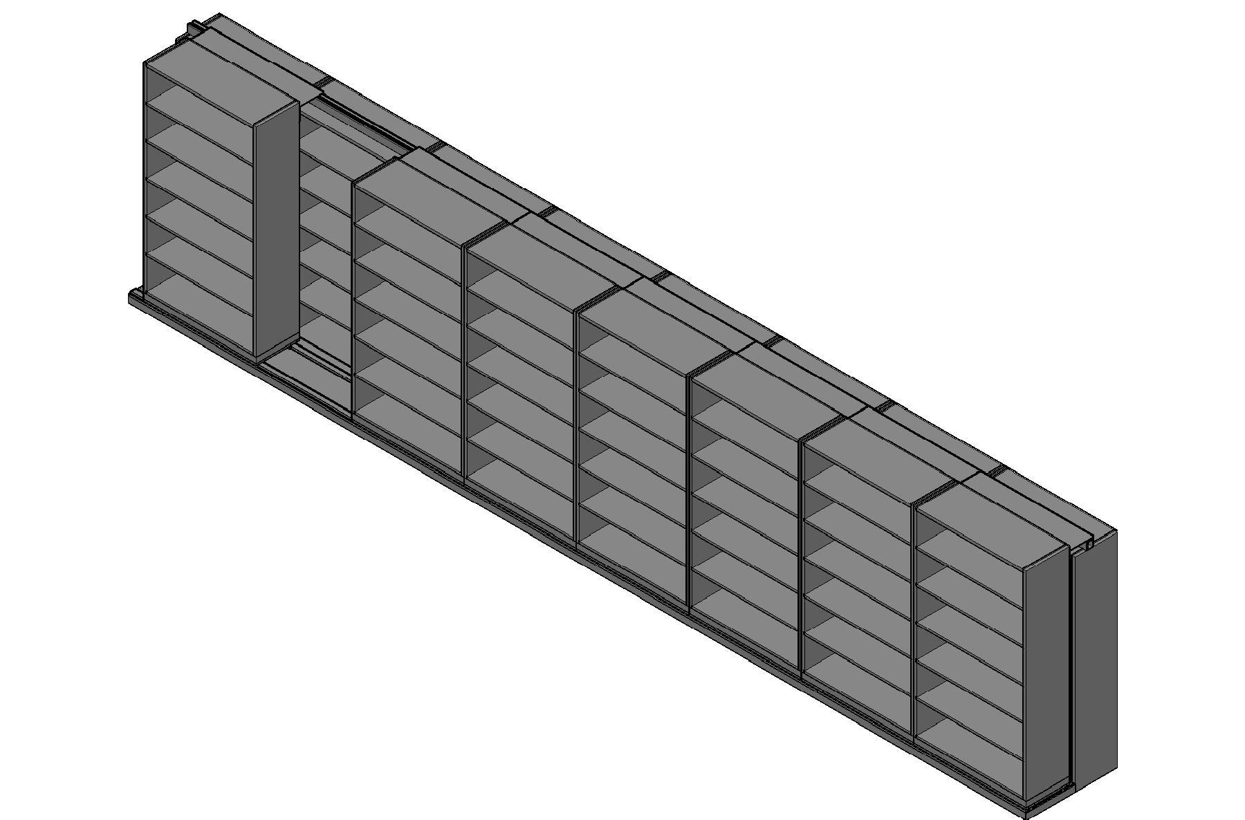 "Box Size Sliding Shelves - 2 Rows Deep - 6 Levels - (42"" x 16"" Shelves) - 340"" Total Width"