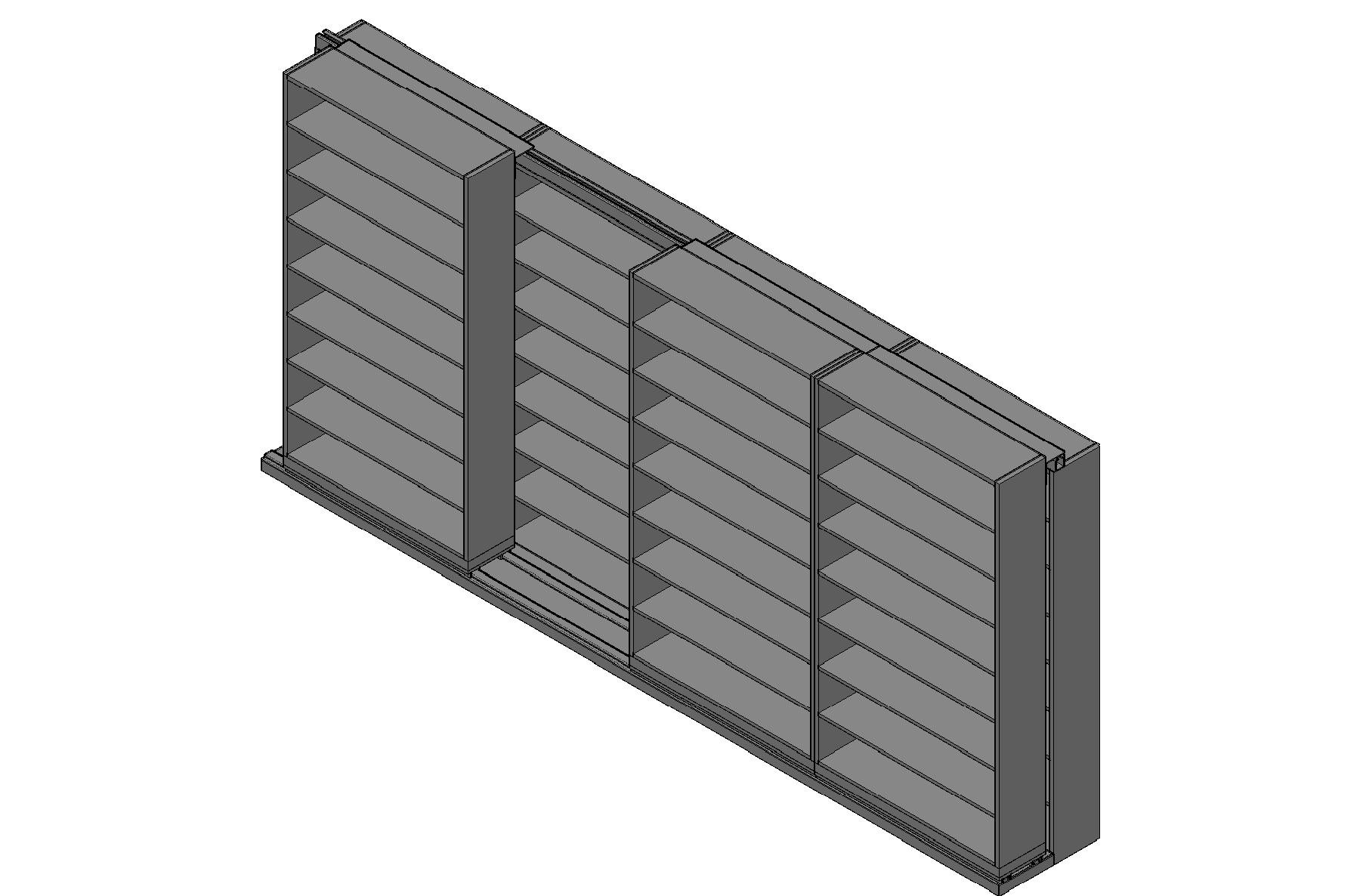 "Letter Size Sliding Shelves - 2 Rows Deep - 8 Levels - (48"" x 12"" Shelves) - 196"" Total Width"