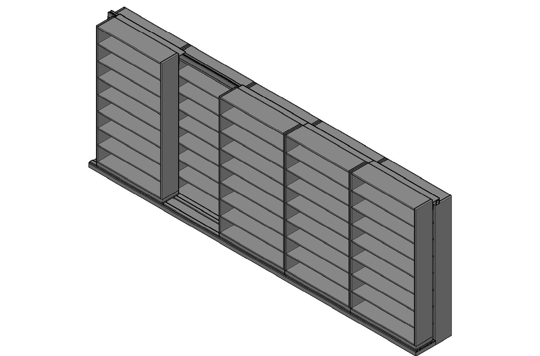 "Letter Size Sliding Shelves - 2 Rows Deep - 8 Levels - (48"" x 12"" Shelves) - 244"" Total Width"