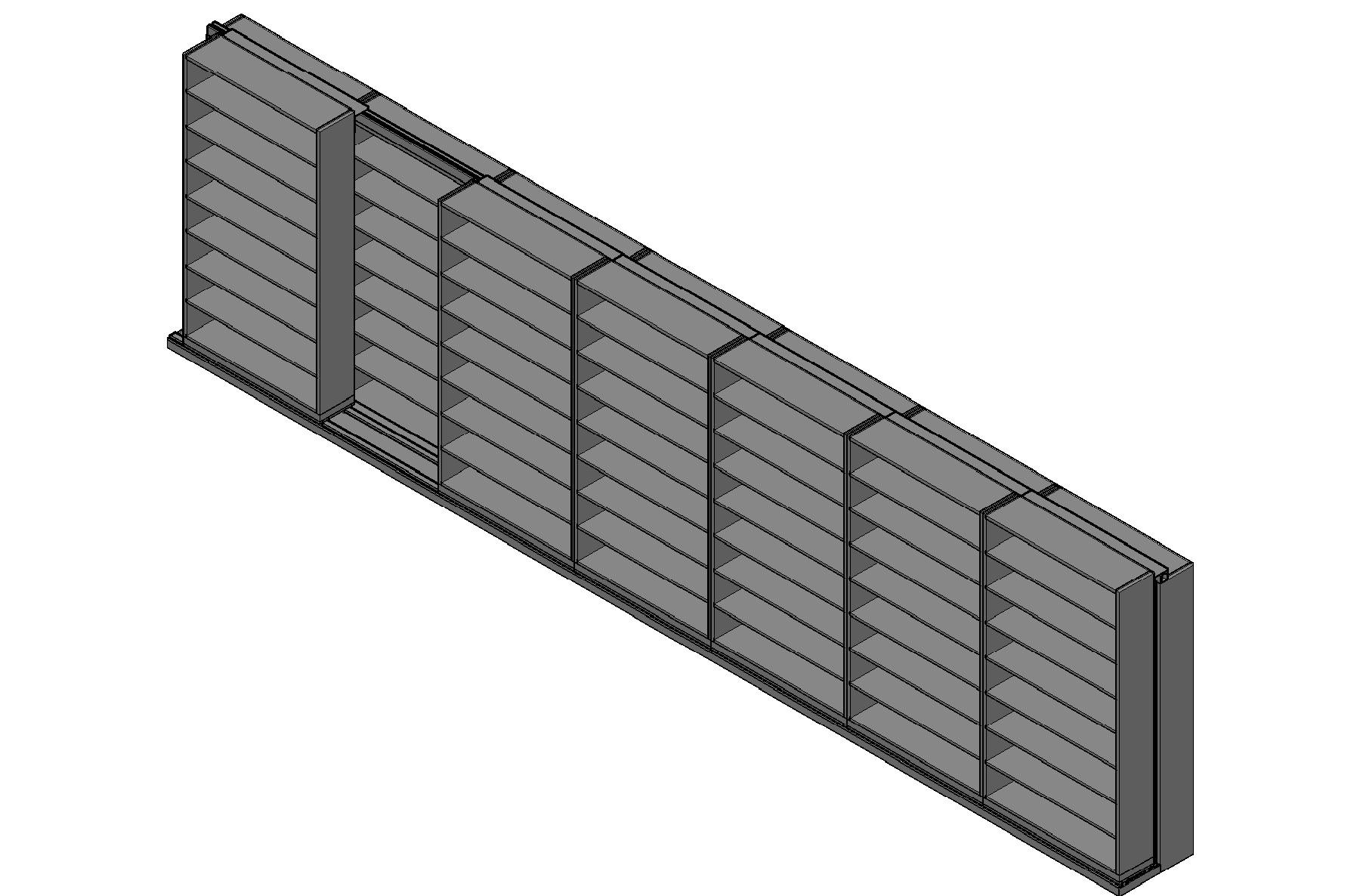 "Letter Size Sliding Shelves - 2 Rows Deep - 8 Levels - (48"" x 12"" Shelves) - 340"" Total Width"