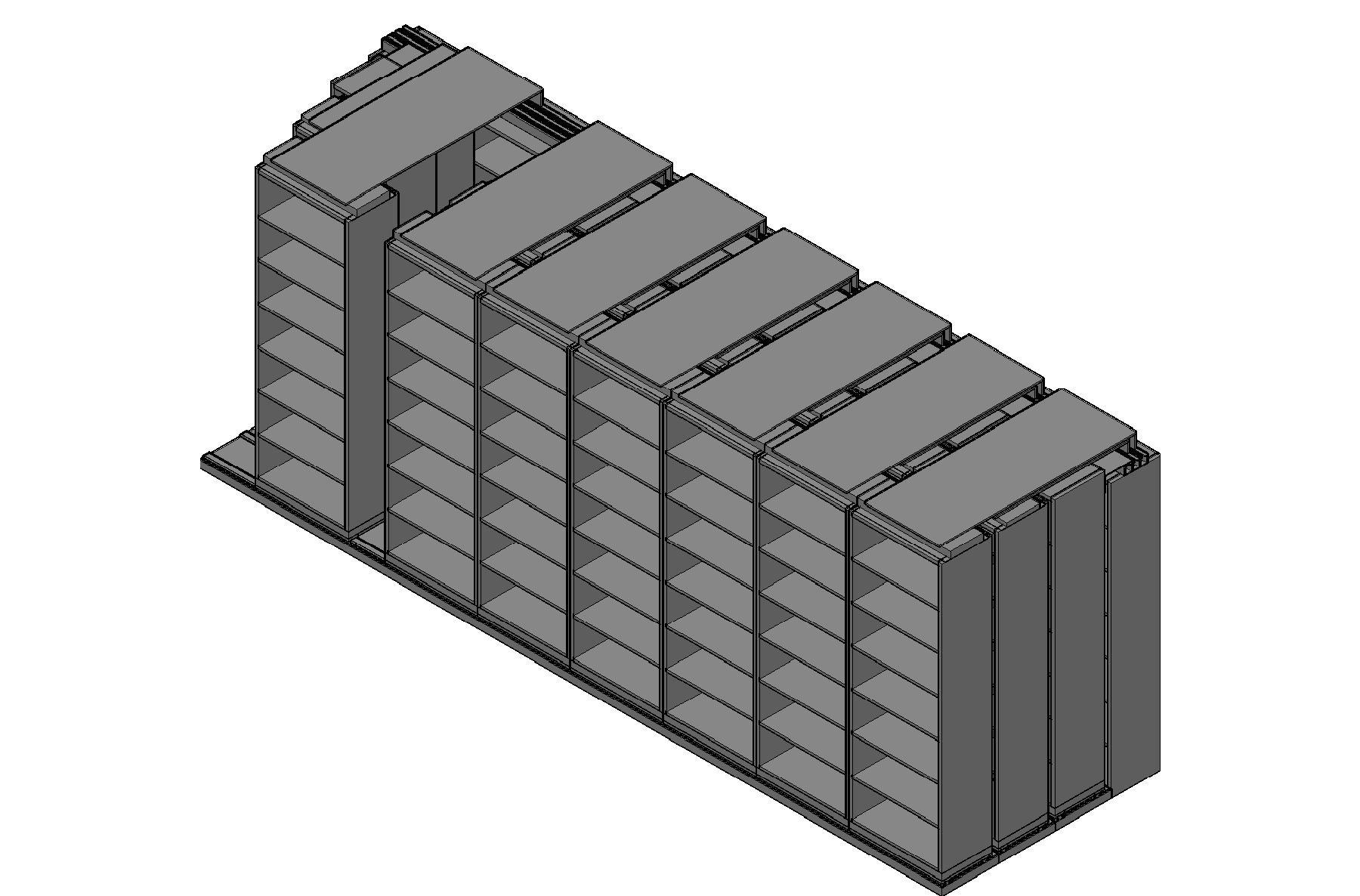"Box Size Sliding Shelves - 4 Rows Deep - 7 Levels - (30"" x 16"" Shelves) - 244"" Total Width"