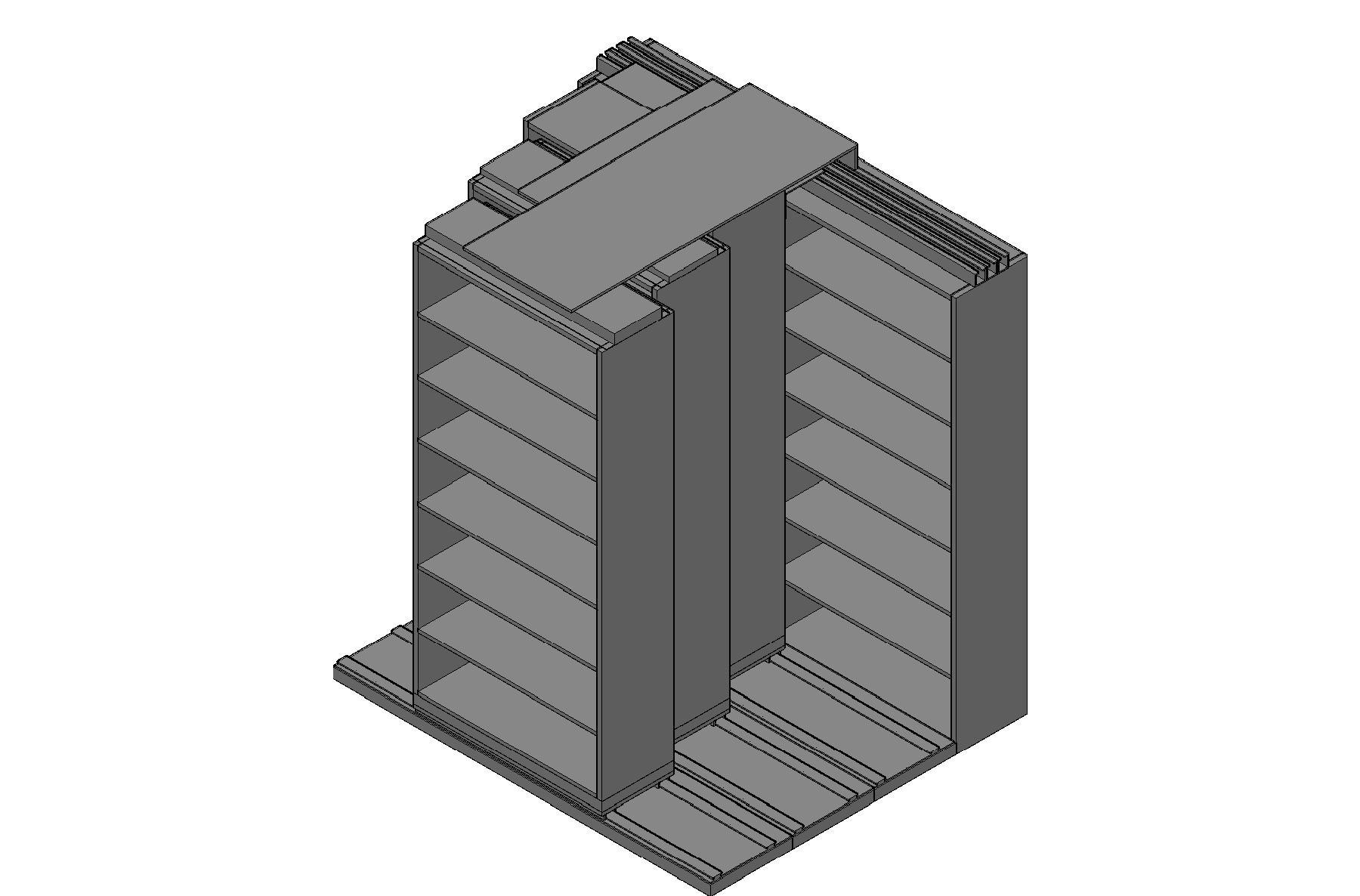 "Box Size Sliding Shelves - 4 Rows Deep - 7 Levels - (42"" x 16"" Shelves) - 88"" Total Width"
