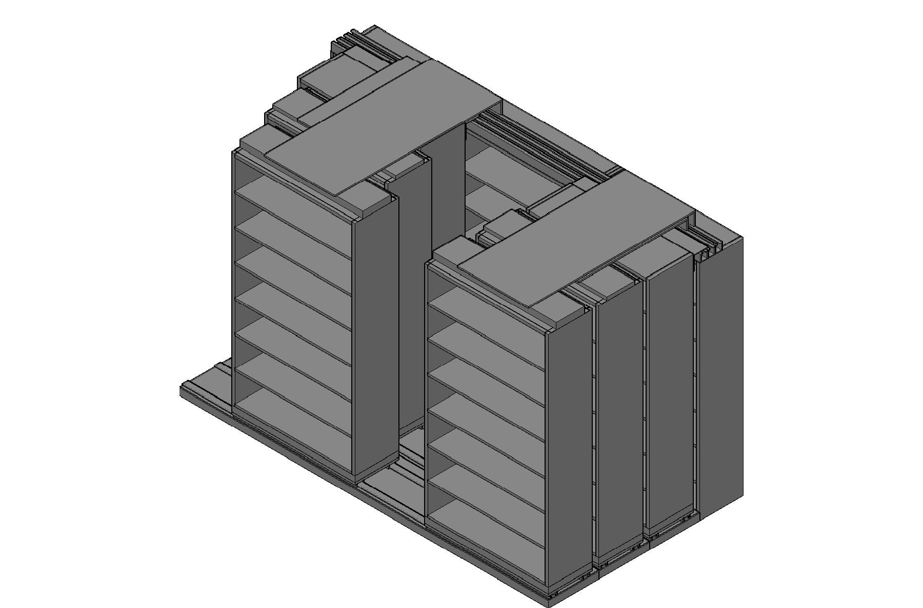 "Legal Size Sliding Shelves - 4 Rows Deep - 7 Levels - (42"" x 15"" Shelves) - 130"" Total Width"