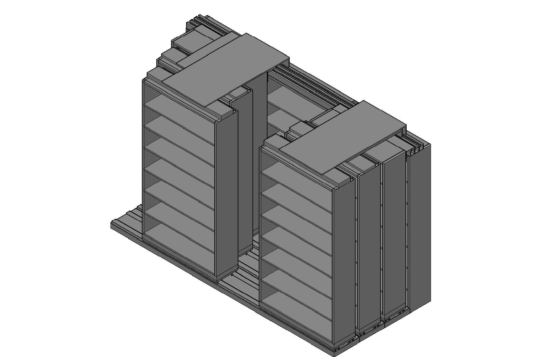 "Letter Size Sliding Shelves - 4 Rows Deep - 7 Levels - (42"" x 12"" Shelves) - 130"" Total Width"