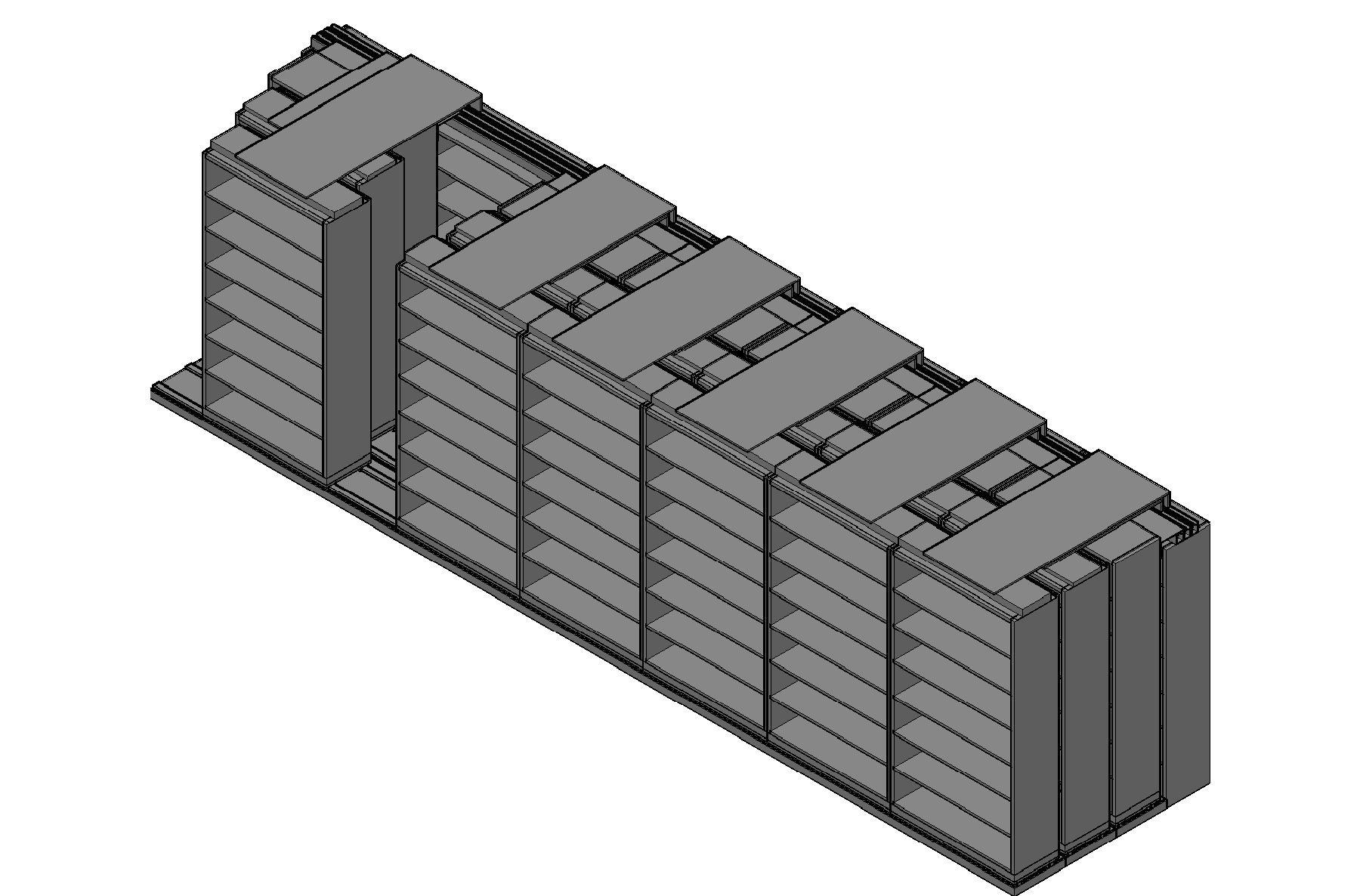 "Legal Size Sliding Shelves - 4 Rows Deep - 7 Levels - (42"" x 15"" Shelves) - 298"" Total Width"