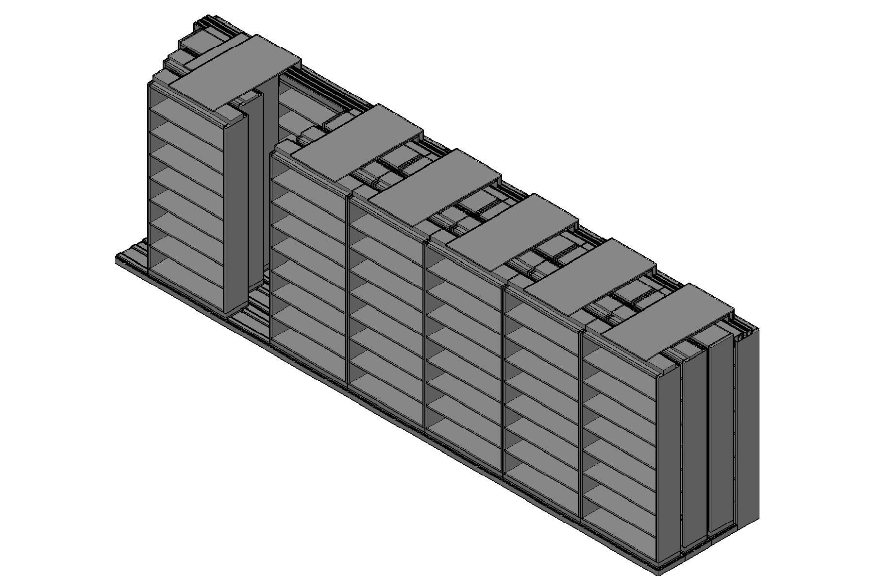 "Letter Size Sliding Shelves - 4 Rows Deep - 8 Levels - (42"" x 12"" Shelves) - 298"" Total Width"