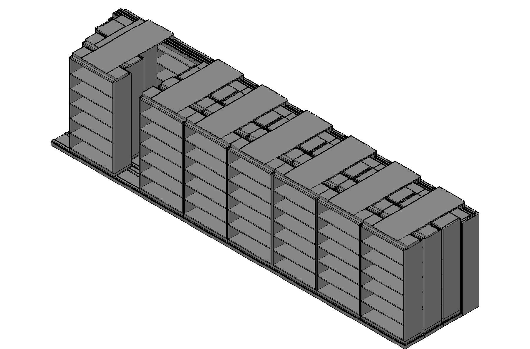 "Box Size Sliding Shelves - 4 Rows Deep - 6 Levels - (42"" x 16"" Shelves) - 340"" Total Width"