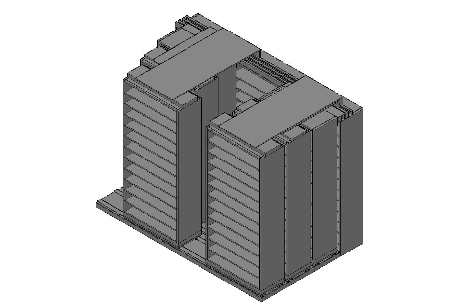 "Bin Size Sliding Shelves - 4 Rows Deep - 12 Levels - (36"" x 15"" Shelves) - 112"" Total Width"