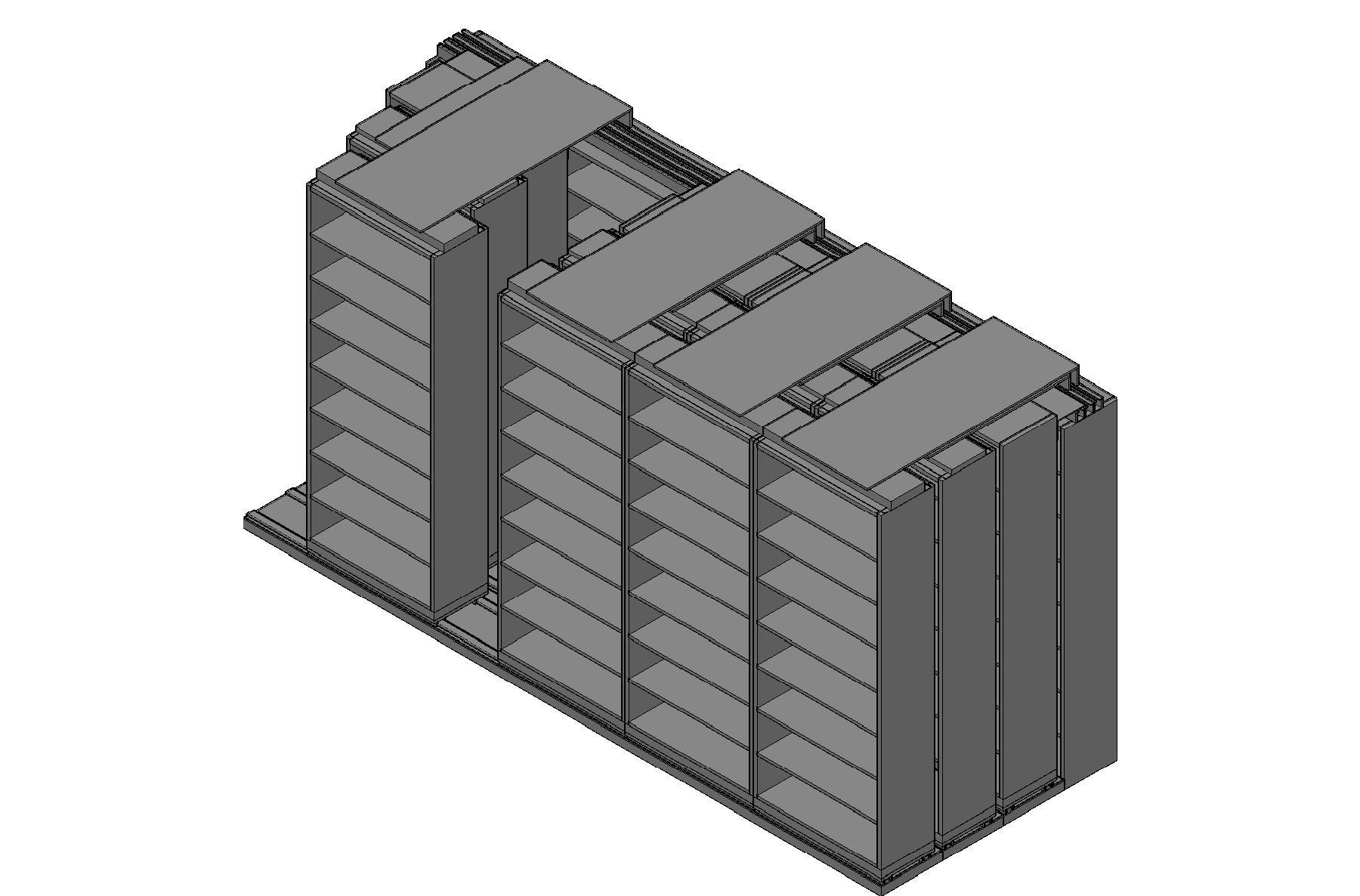 "Legal Size Sliding Shelves - 4 Rows Deep - 8 Levels - (36"" x 15"" Shelves) - 184"" Total Width"