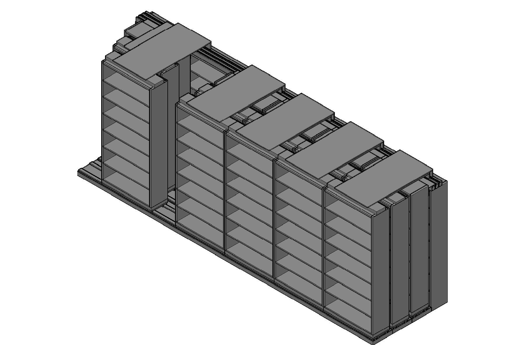 "Letter Size Sliding Shelves - 4 Rows Deep - 7 Levels - (36"" x 12"" Shelves) - 220"" Total Width"