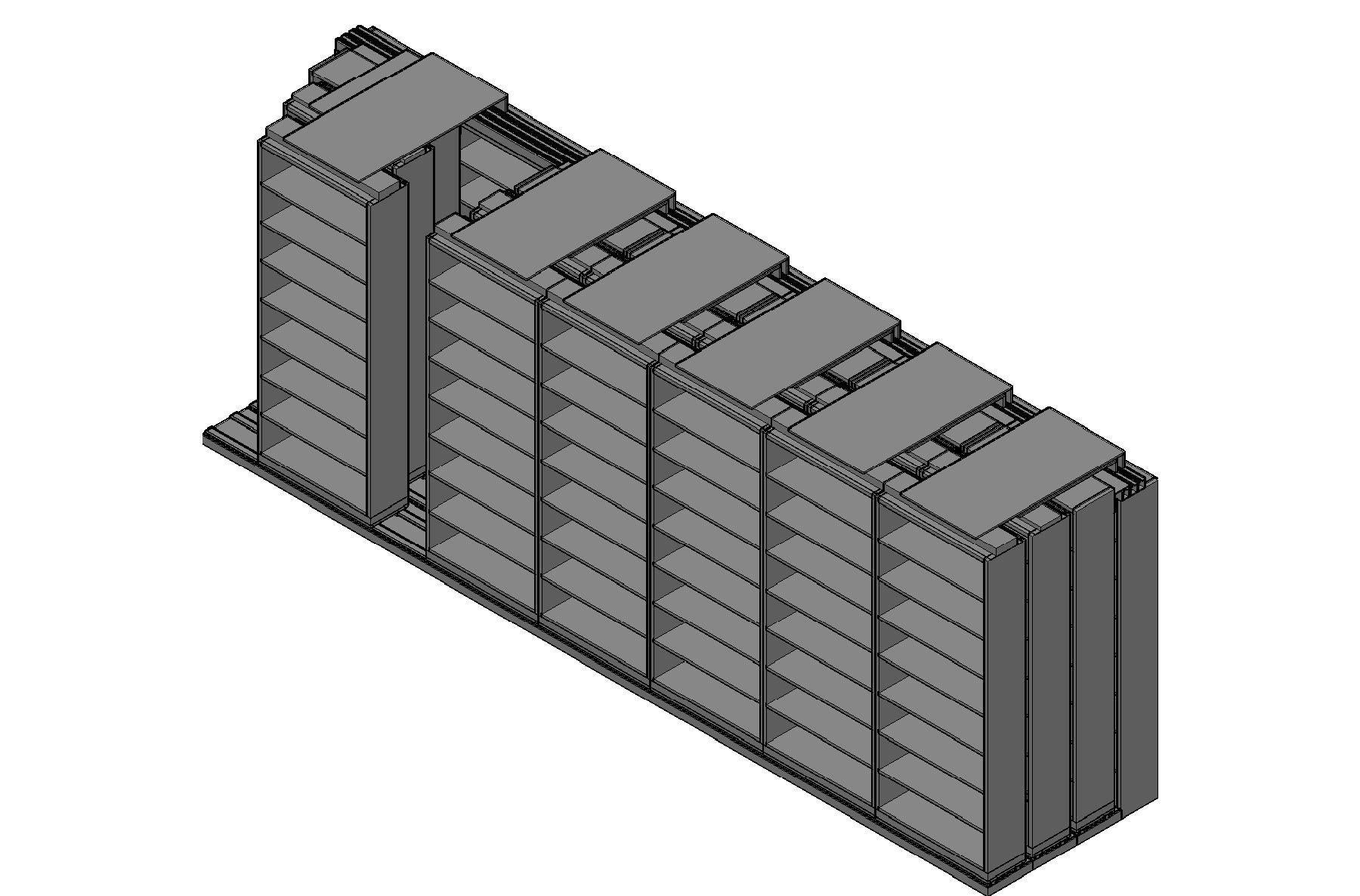 "Letter Size Sliding Shelves - 4 Rows Deep - 8 Levels - (36"" x 12"" Shelves) - 256"" Total Width"