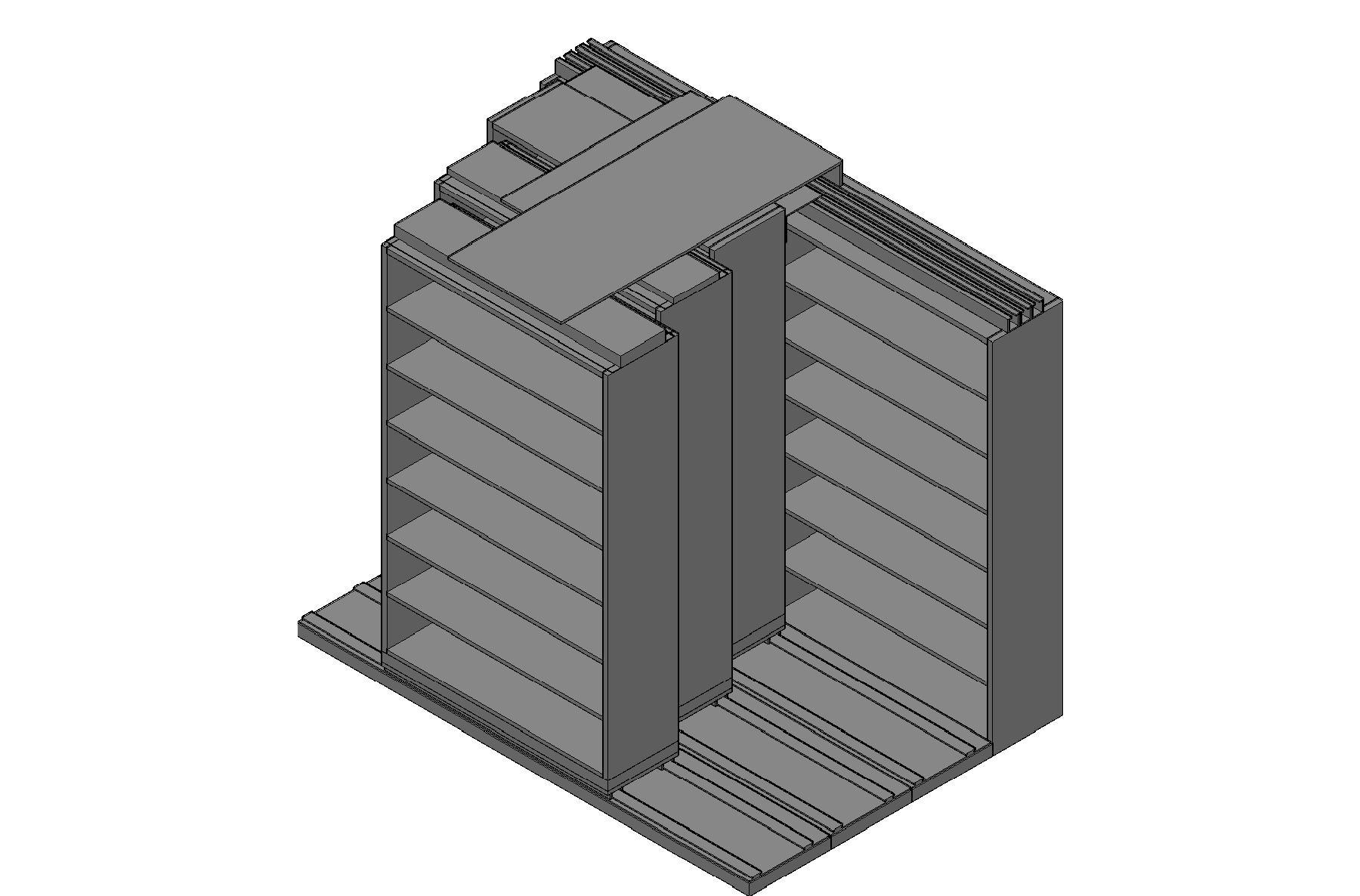 "Legal Size Sliding Shelves - 4 Rows Deep - 7 Levels - (48"" x 15"" Shelves) - 100"" Total Width"