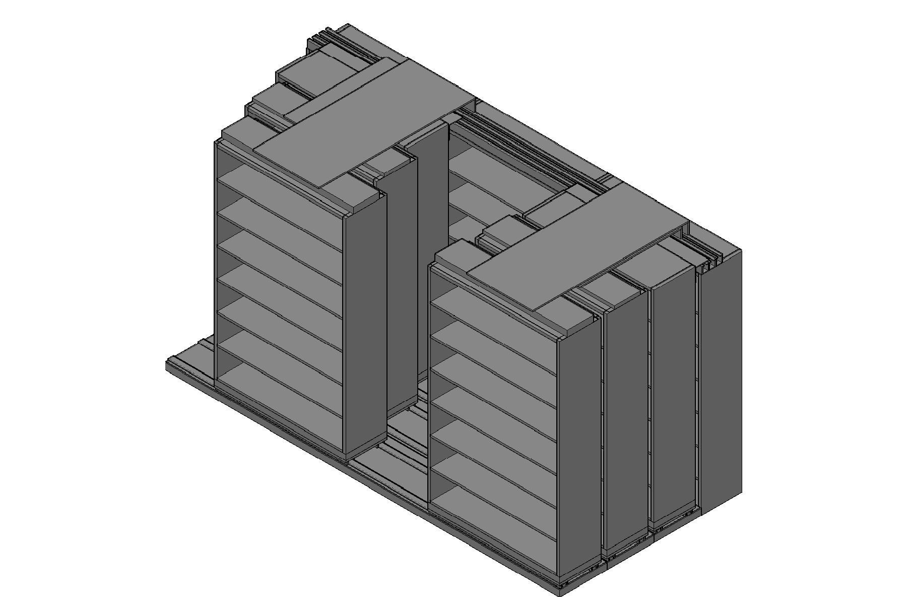 "Legal Size Sliding Shelves - 4 Rows Deep - 7 Levels - (48"" x 15"" Shelves) - 148"" Total Width"