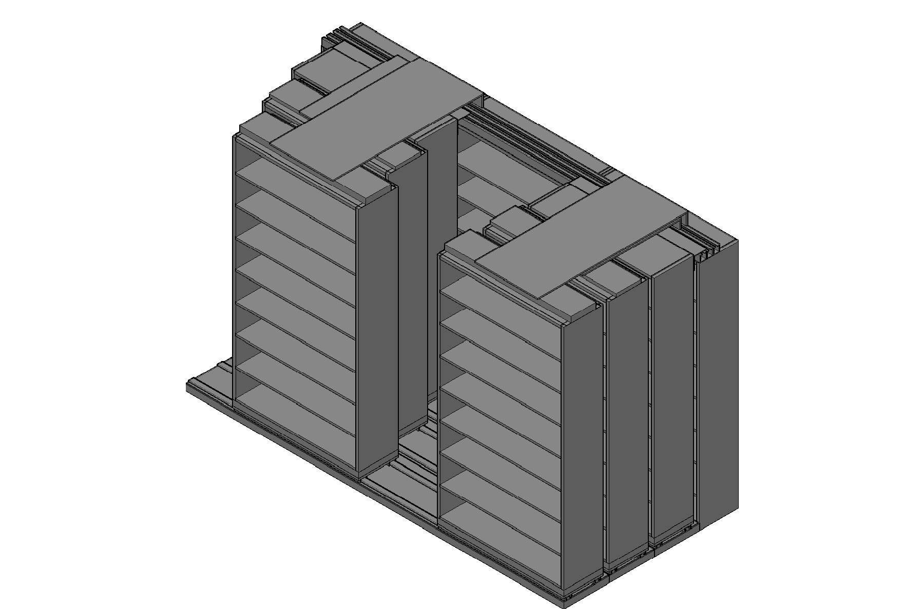 "Legal Size Sliding Shelves - 4 Rows Deep - 8 Levels - (48"" x 15"" Shelves) - 148"" Total Width"