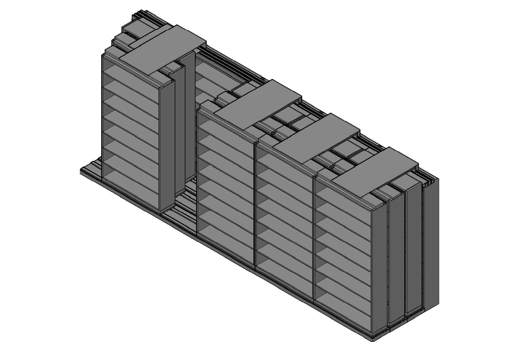 "Letter Size Sliding Shelves - 4 Rows Deep - 8 Levels - (48"" x 12"" Shelves) - 244"" Total Width"