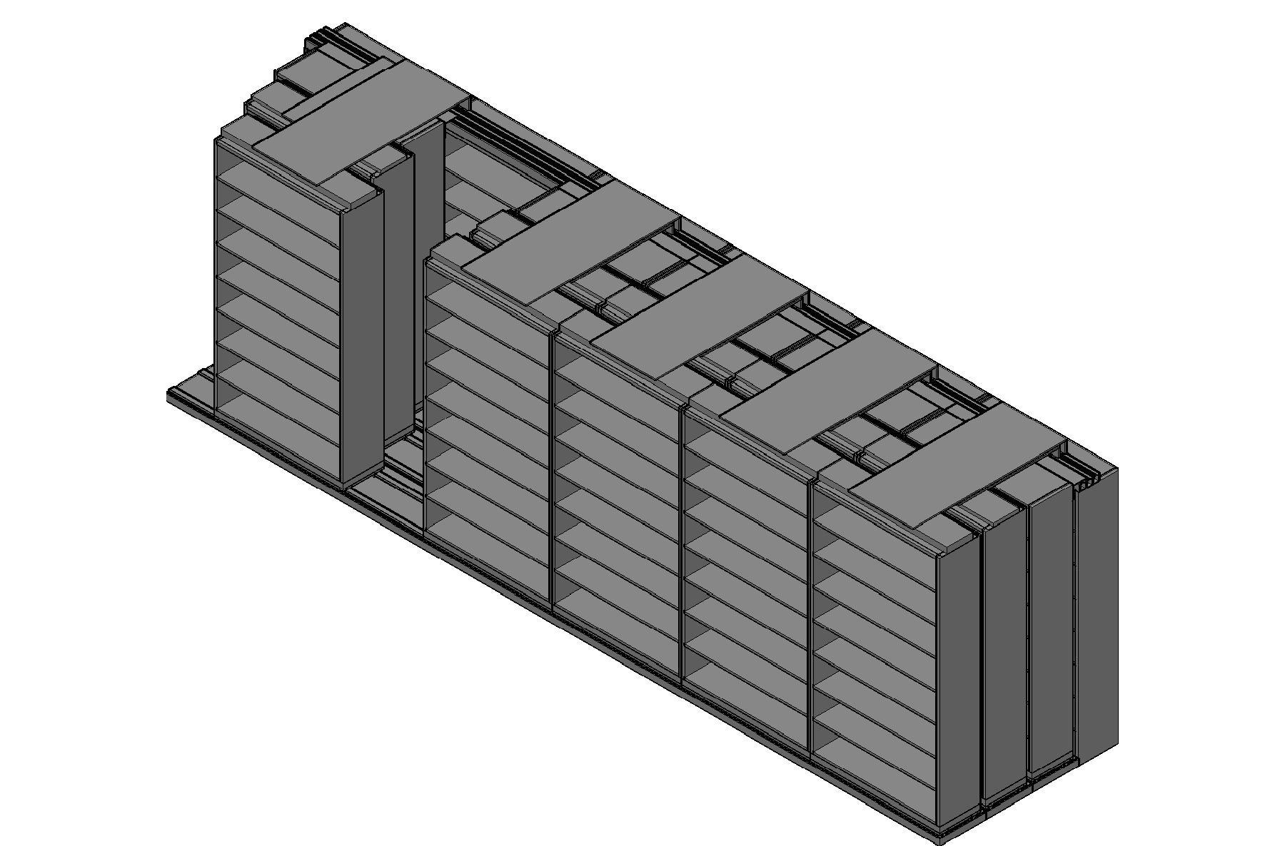 "Legal Size Sliding Shelves - 4 Rows Deep - 8 Levels - (48"" x 15"" Shelves) - 292"" Total Width"