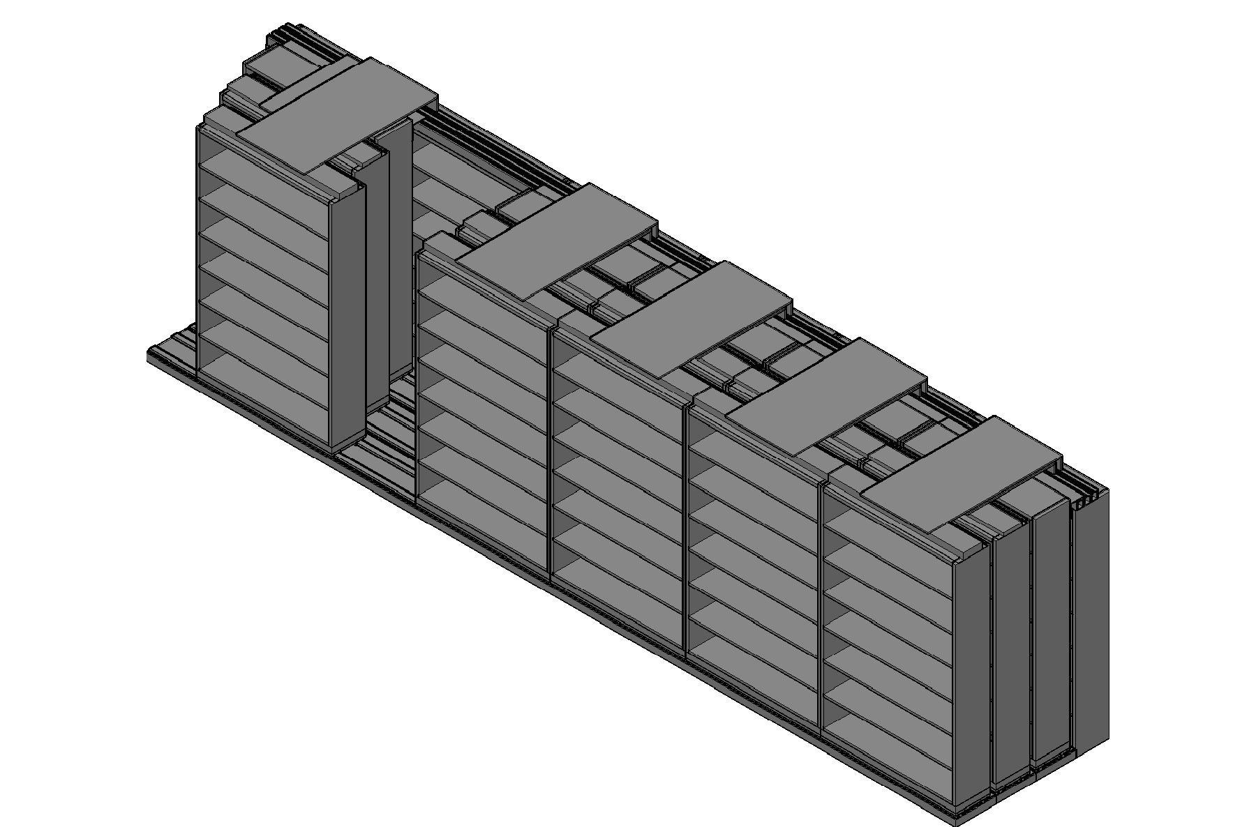 "Letter Size Sliding Shelves - 4 Rows Deep - 7 Levels - (48"" x 12"" Shelves) - 292"" Total Width"