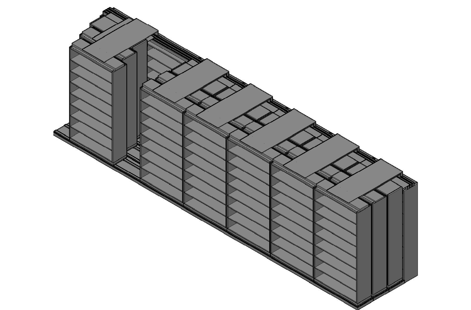 "Legal Size Sliding Shelves - 4 Rows Deep - 8 Levels - (48"" x 15"" Shelves) - 340"" Total Width"
