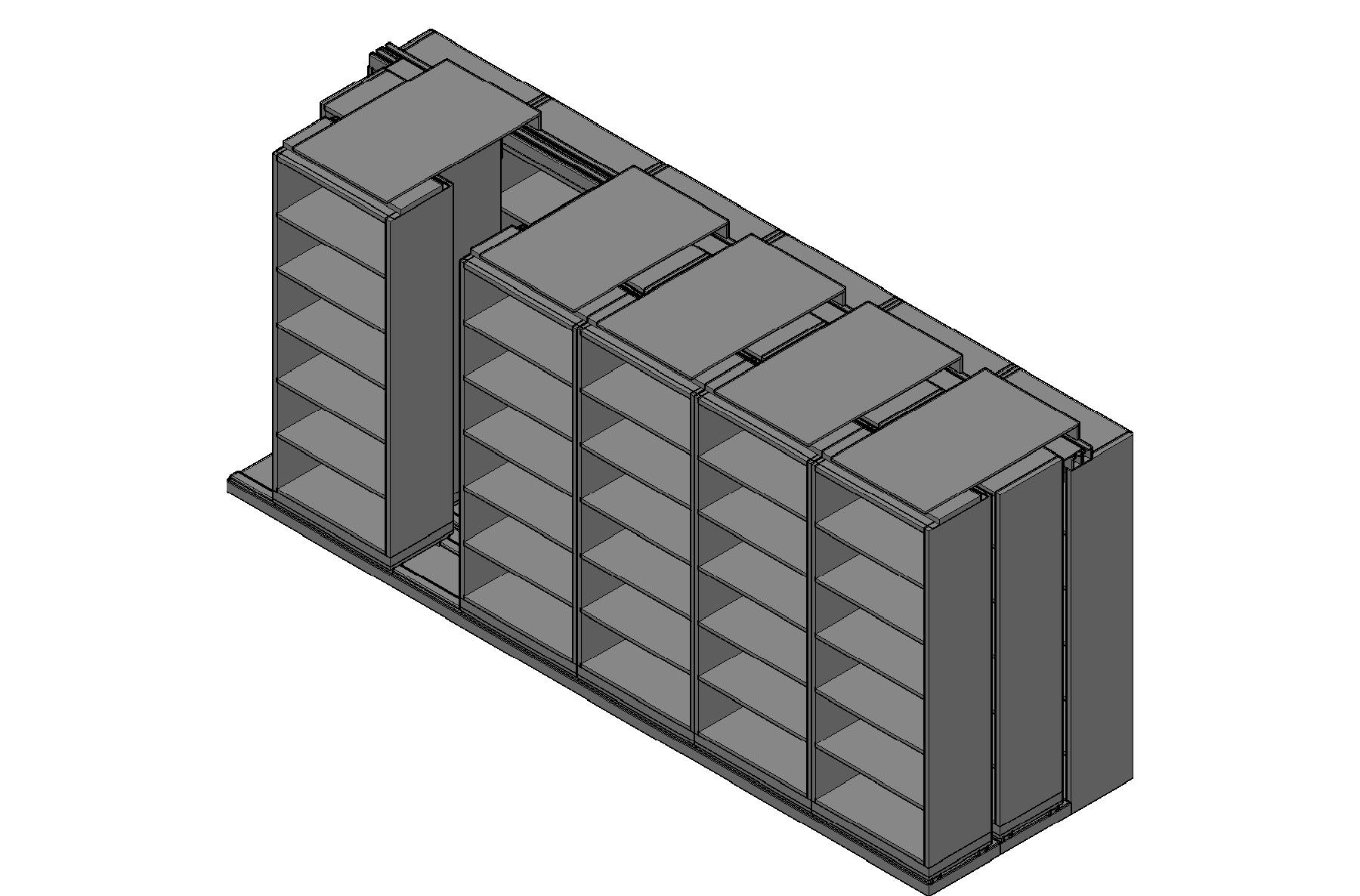 "Box Size Sliding Shelves - 3 Rows Deep - 6 Levels - (30"" x 16"" Shelves) - 184"" Total Width"