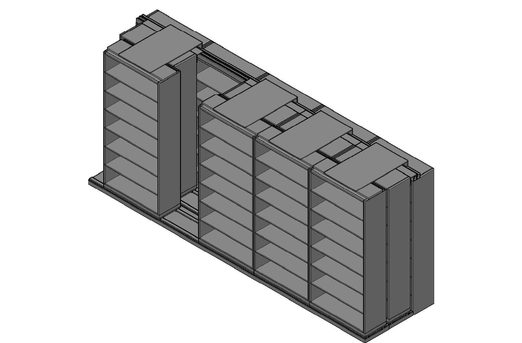 "Box Size Sliding Shelves - 3 Rows Deep - 7 Levels - (42"" x 16"" Shelves) - 214"" Total Width"