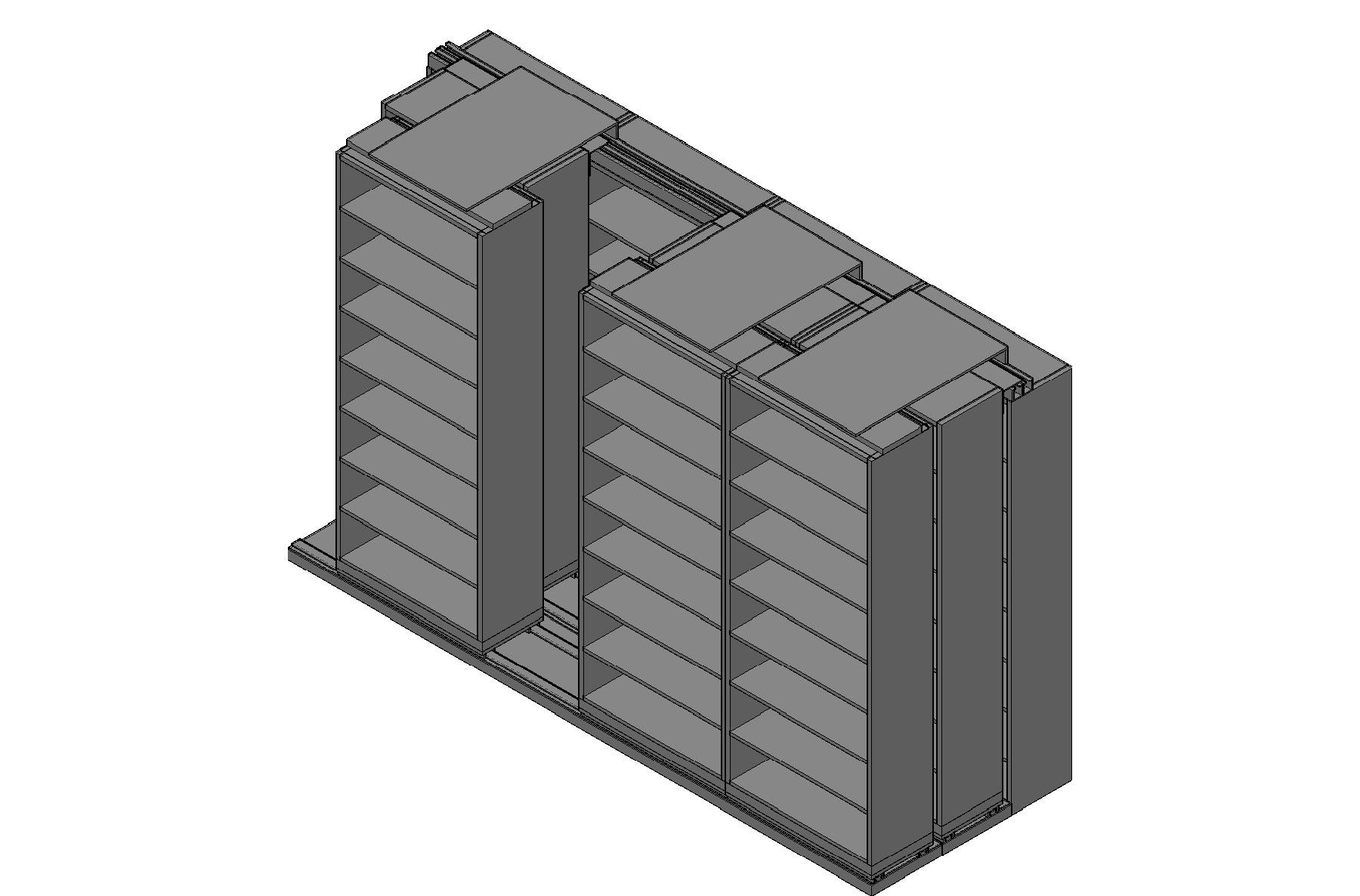 "Legal Size Sliding Shelves - 3 Rows Deep - 8 Levels - (36"" x 15"" Shelves) - 148"" Total Width"