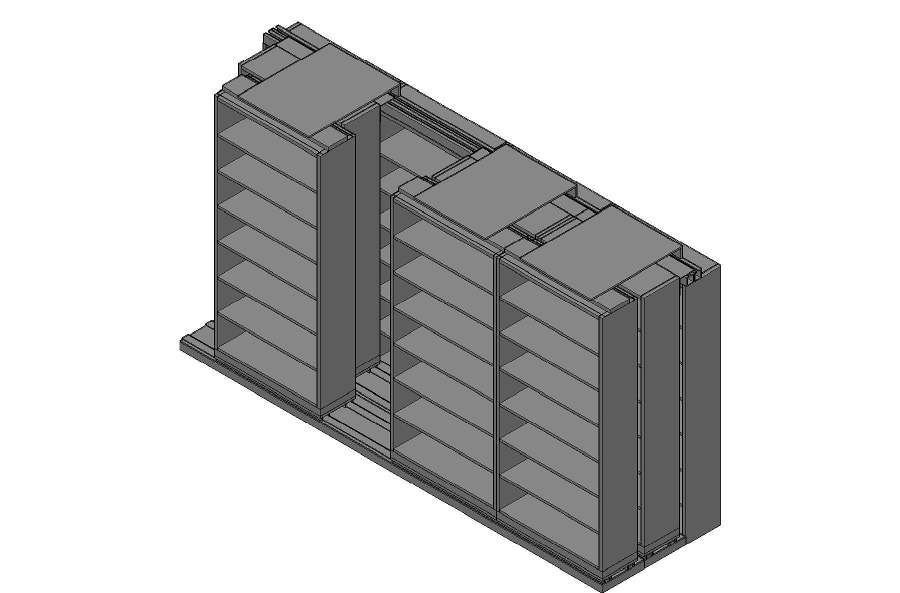 "Letter Size Sliding Shelves - 3 Rows Deep - 7 Levels - (36"" x 12"" Shelves) - 148"" Total Width"