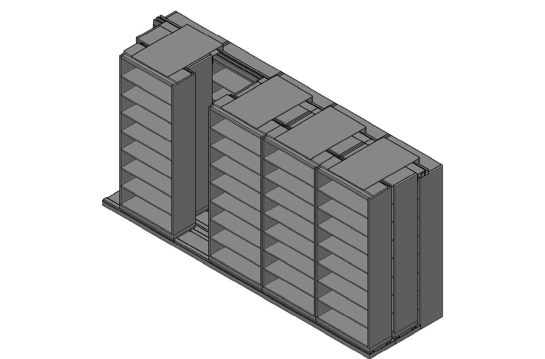"Legal Size Sliding Shelves - 3 Rows Deep - 8 Levels - (36"" x 15"" Shelves) - 184"" Total Width"