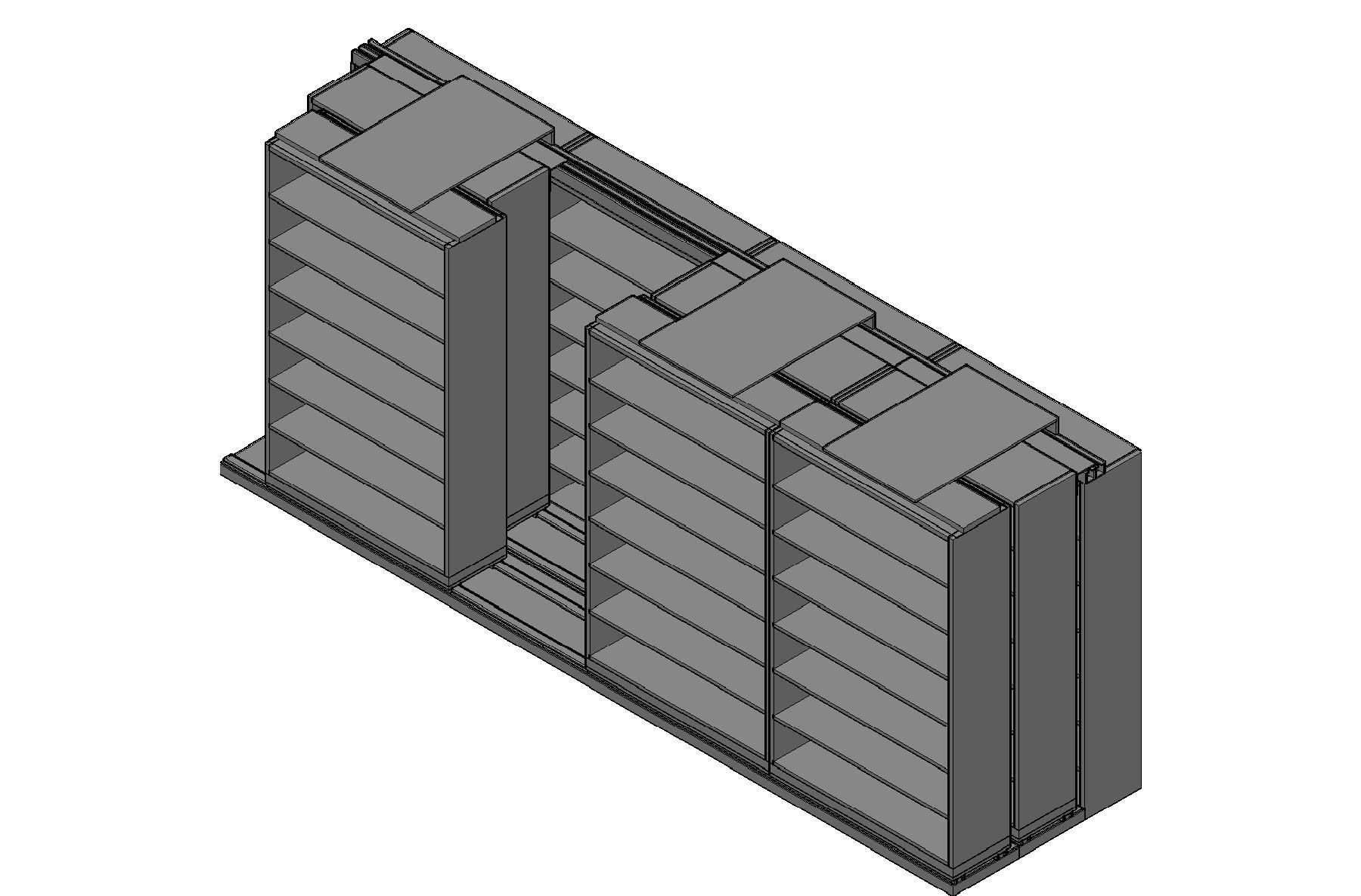 "Legal Size Sliding Shelves - 3 Rows Deep - 7 Levels - (48"" x 15"" Shelves) - 196"" Total Width"