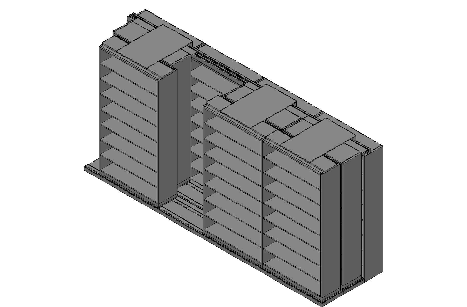 "Legal Size Sliding Shelves - 3 Rows Deep - 8 Levels - (48"" x 15"" Shelves) - 196"" Total Width"