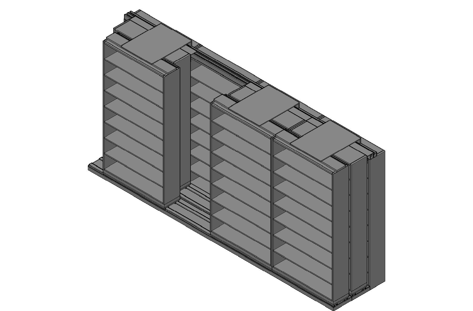 "Letter Size Sliding Shelves - 3 Rows Deep - 8 Levels - (48"" x 12"" Shelves) - 196"" Total Width"