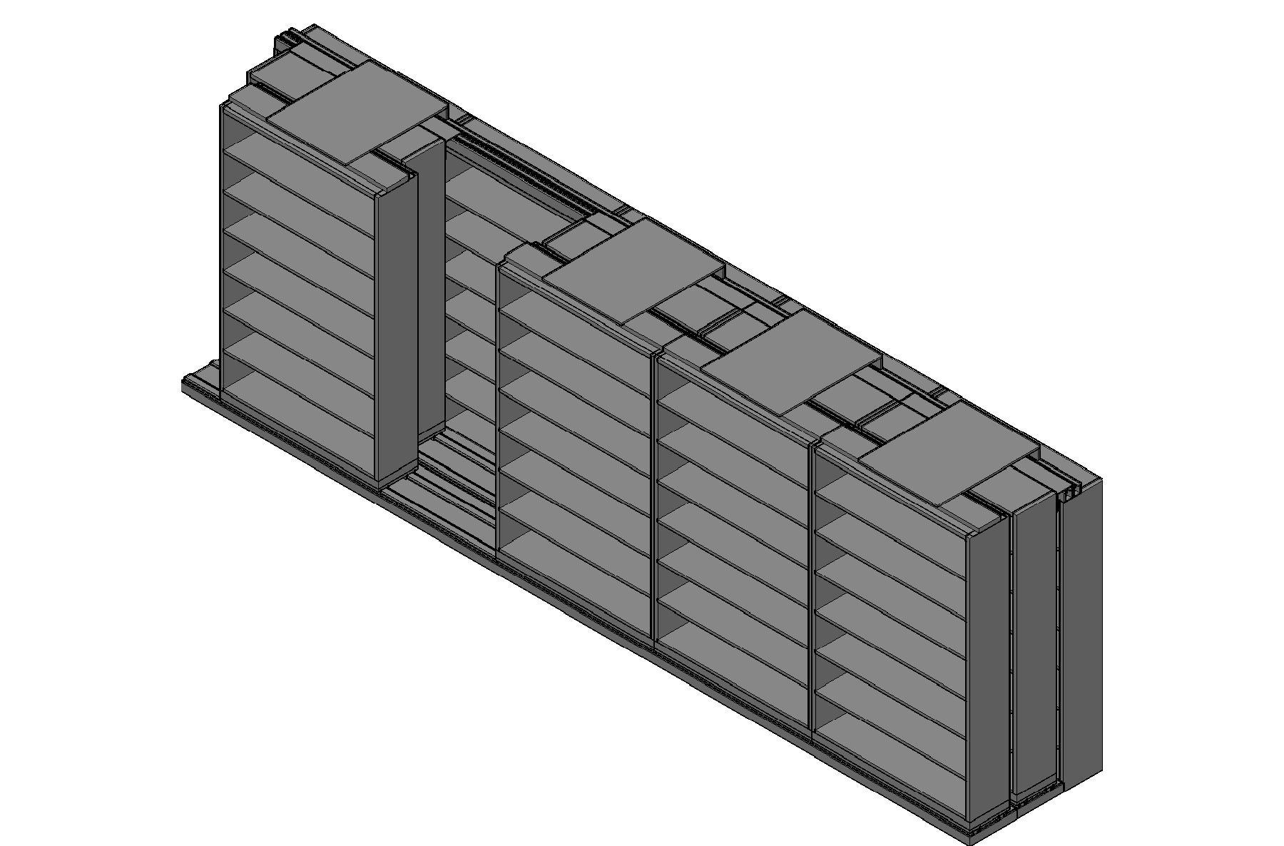 "Letter Size Sliding Shelves - 3 Rows Deep - 7 Levels - (48"" x 12"" Shelves) - 244"" Total Width"