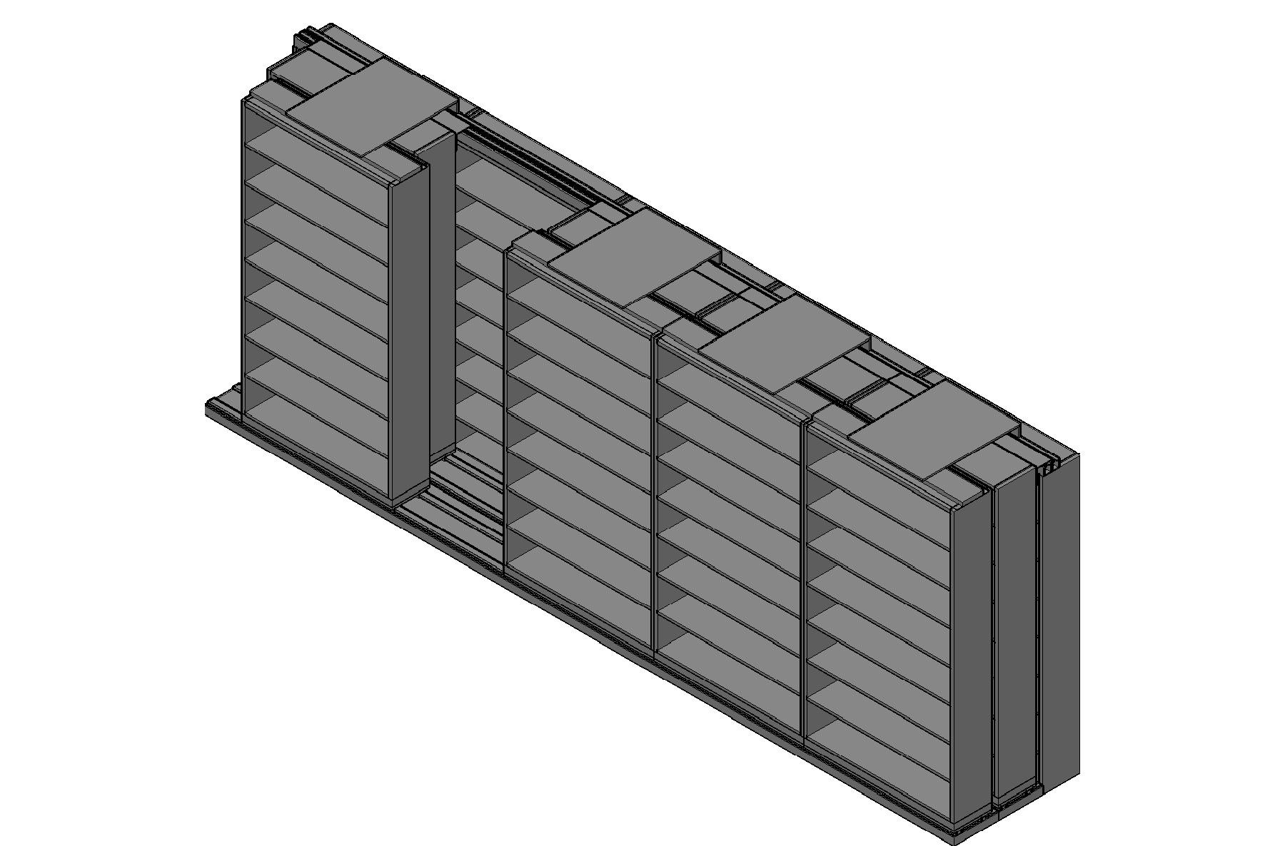 "Letter Size Sliding Shelves - 3 Rows Deep - 8 Levels - (48"" x 12"" Shelves) - 244"" Total Width"