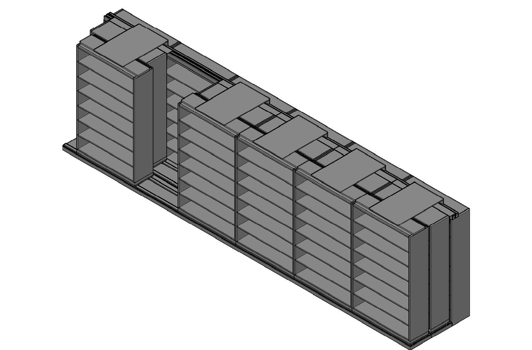 "Legal Size Sliding Shelves - 3 Rows Deep - 7 Levels - (48"" x 15"" Shelves) - 292"" Total Width"