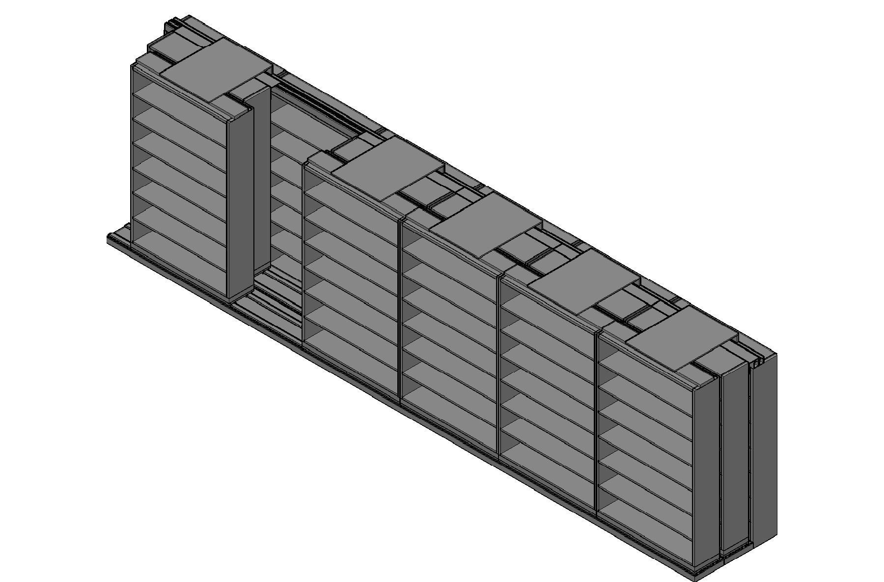 "Letter Size Sliding Shelves - 3 Rows Deep - 7 Levels - (48"" x 12"" Shelves) - 292"" Total Width"