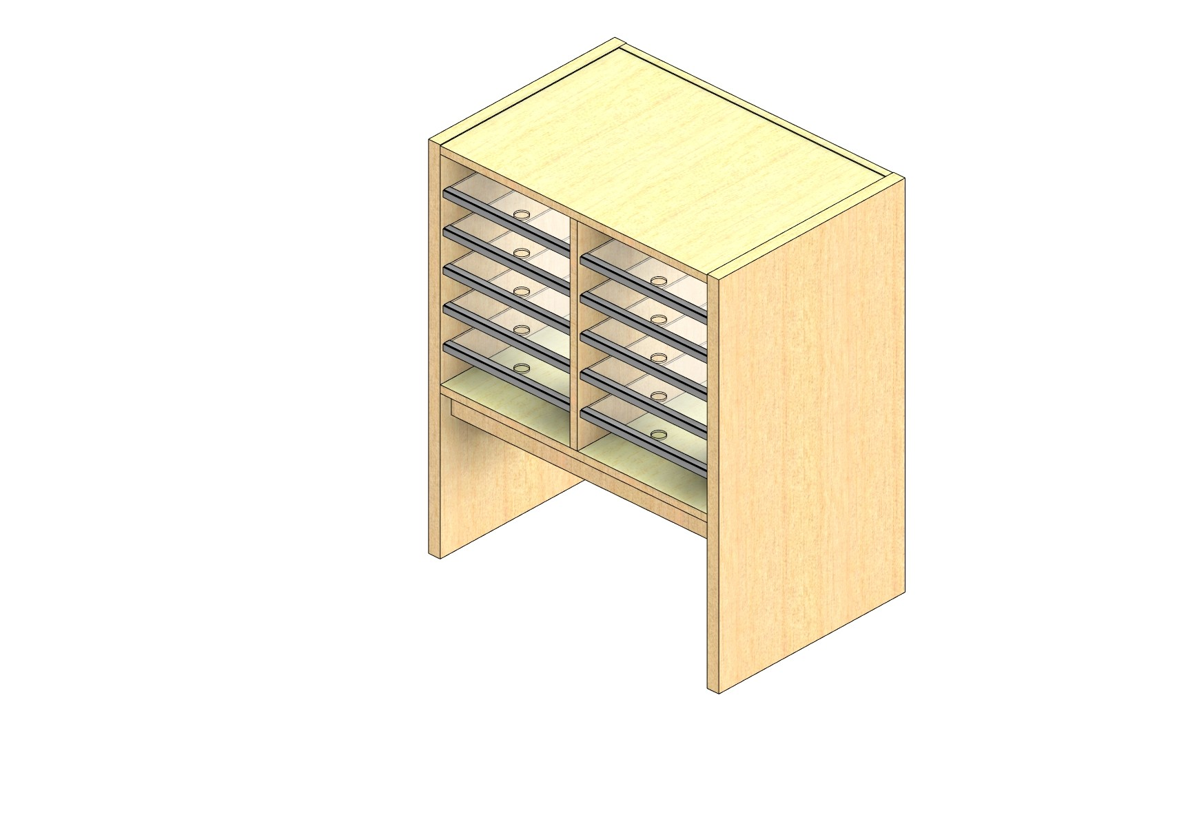 "Legal Sized Plexi Back Sort Module - 2 Columns - 18"" Sorting Height w/ 12"" Riser"