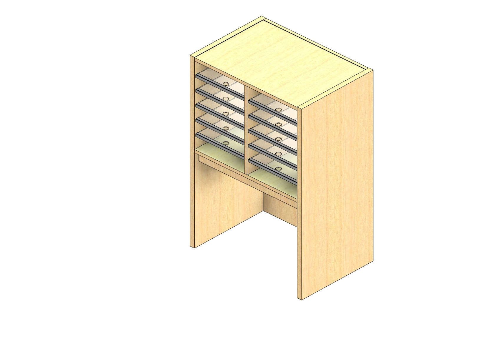 """Legal Sized Closed Back Sort Module - 2 Columns - 18"""" Sorting Height w/ 18"""" Riser"""