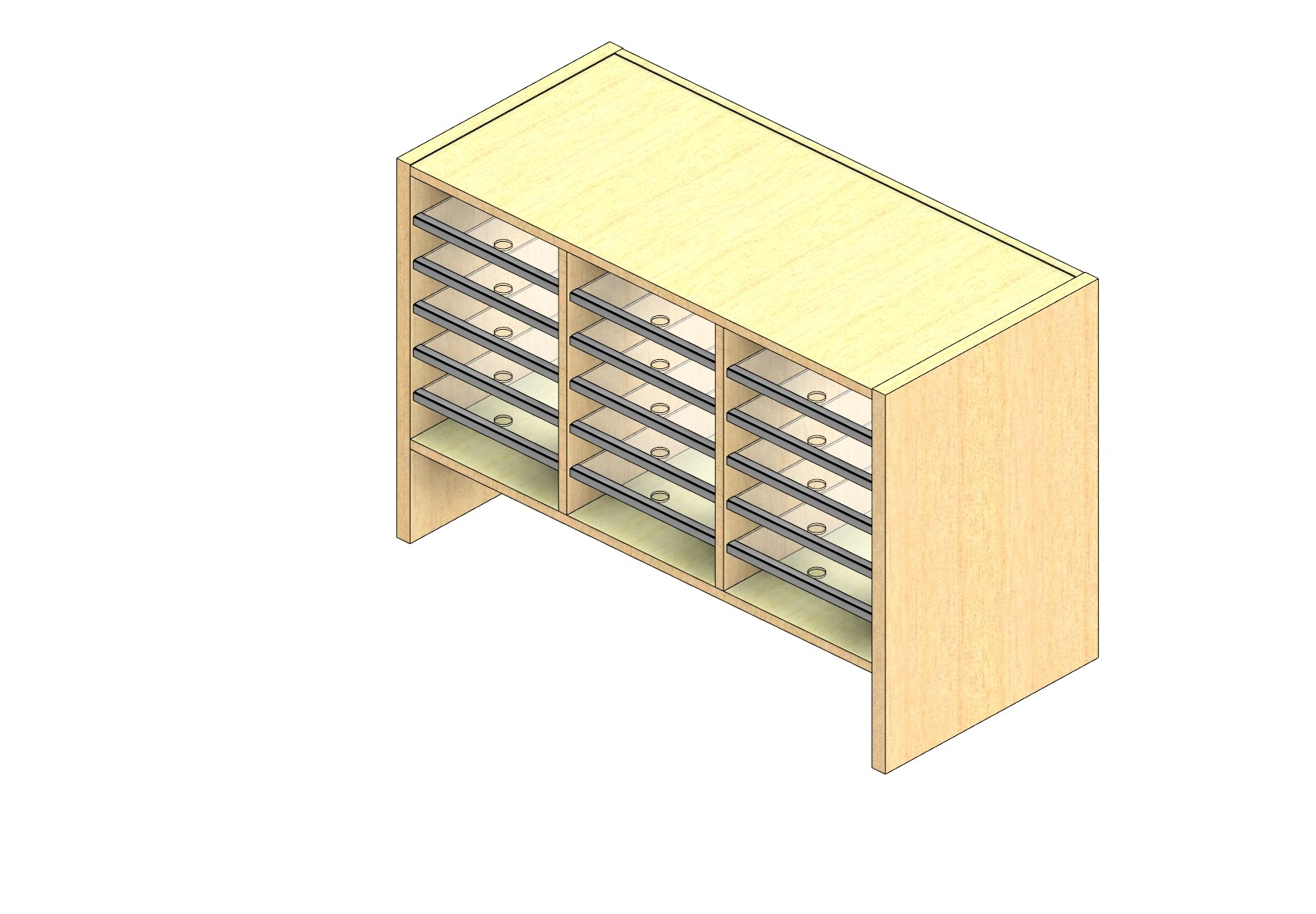 """Legal Sized Closed Back Sort Module - 3 Columns - 18"""" Sorting Height w/ 6"""" Riser"""