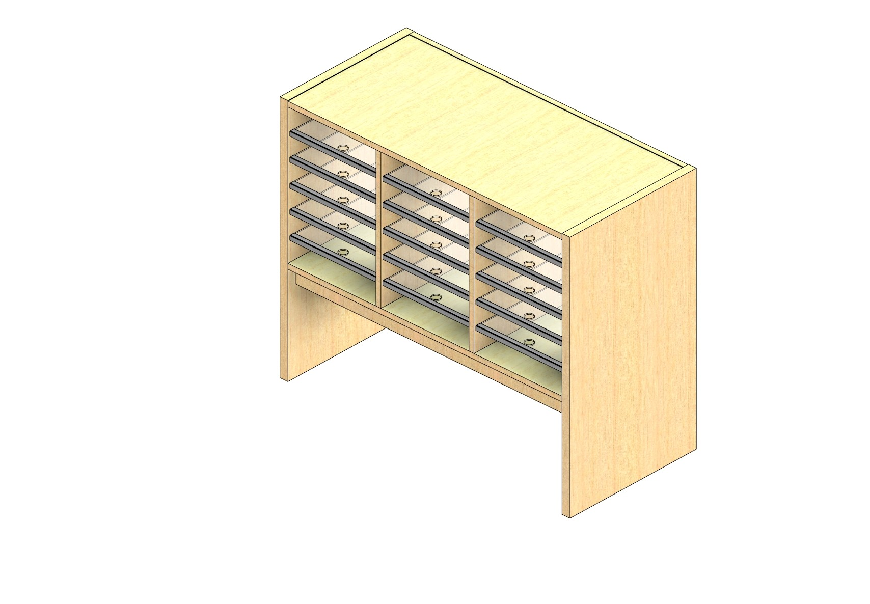 "Legal Sized Open Back Sort Module - 3 Columns - 18"" Sorting Height w/ 12"" Riser"
