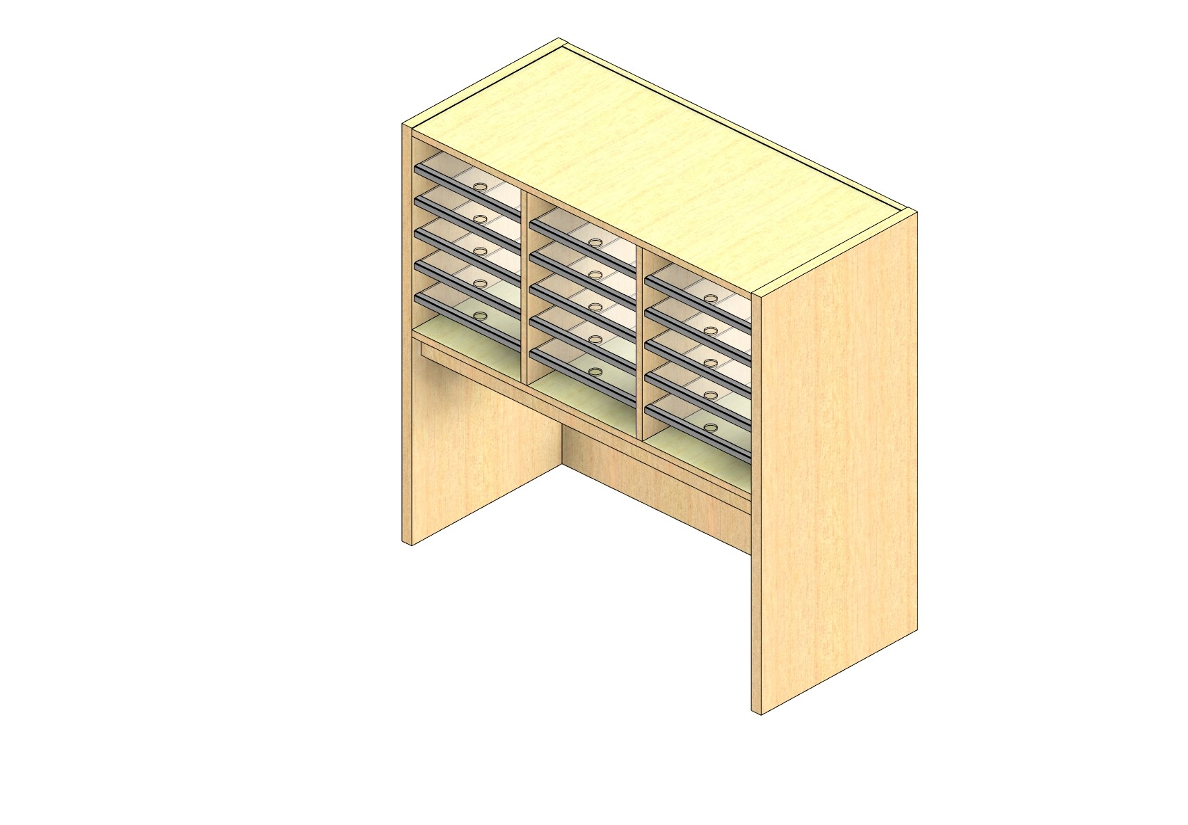 "Legal Sized Open Back Sort Module - 3 Columns - 18"" Sorting Height w/ 18"" Riser"