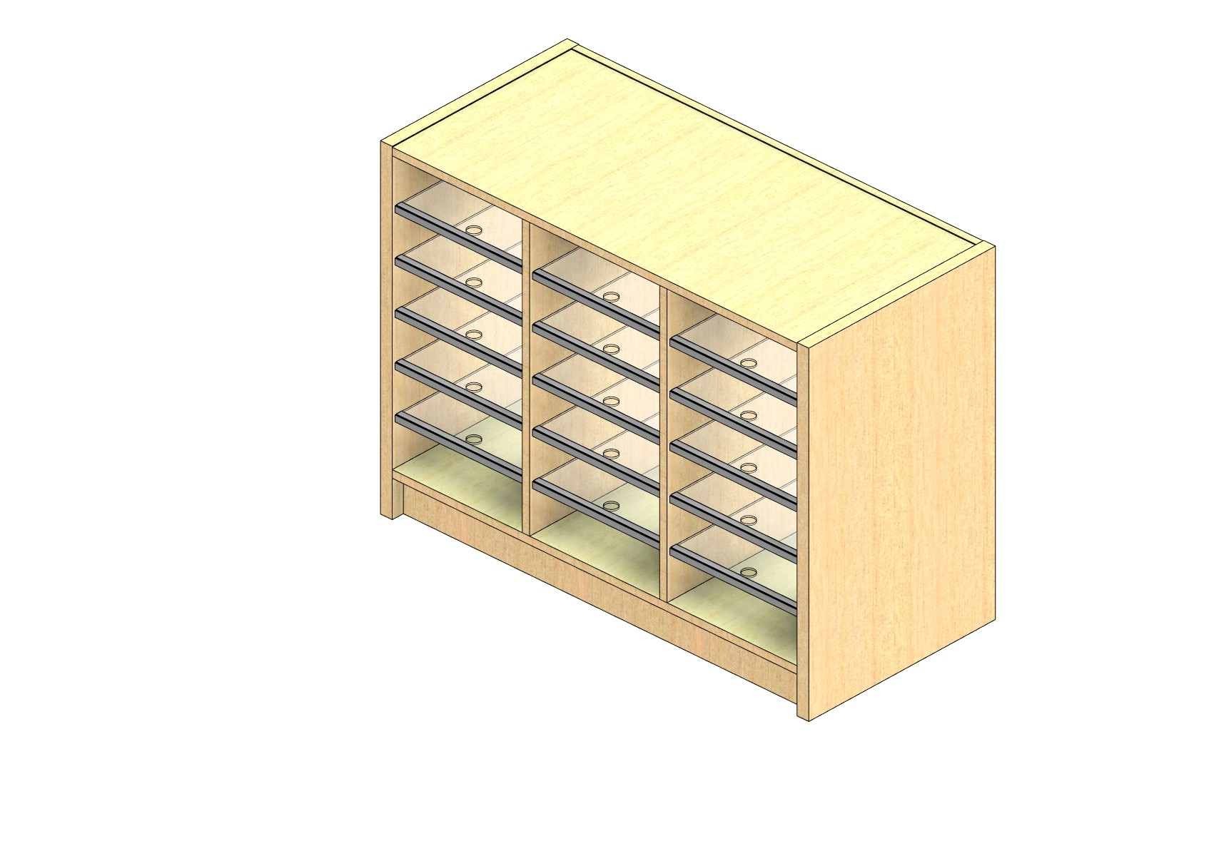 "Legal Sized Open Back Sort Module - 3 Columns - 24"" Sorting Height w/ 3"" Riser"