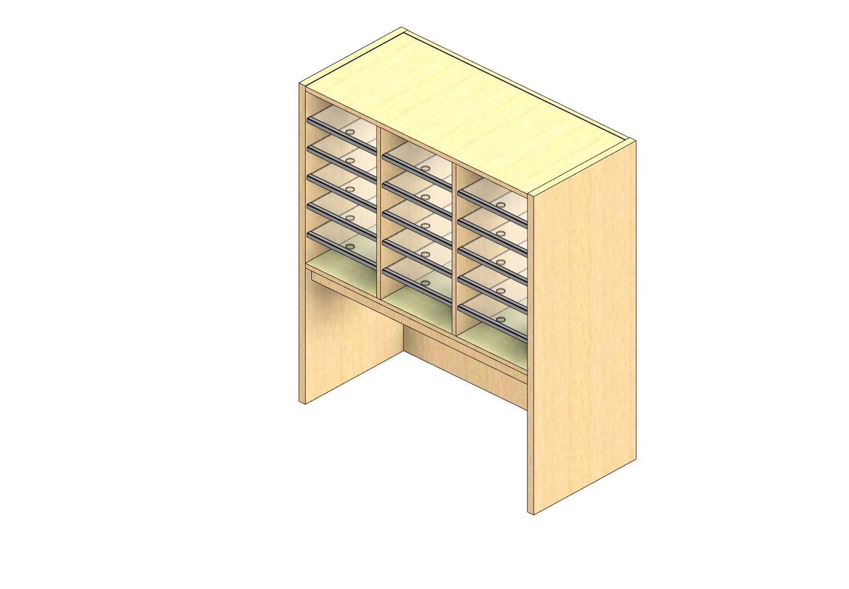 "Legal Sized Open Back Sort Module - 3 Columns - 24"" Sorting Height w/ 18"" Riser"