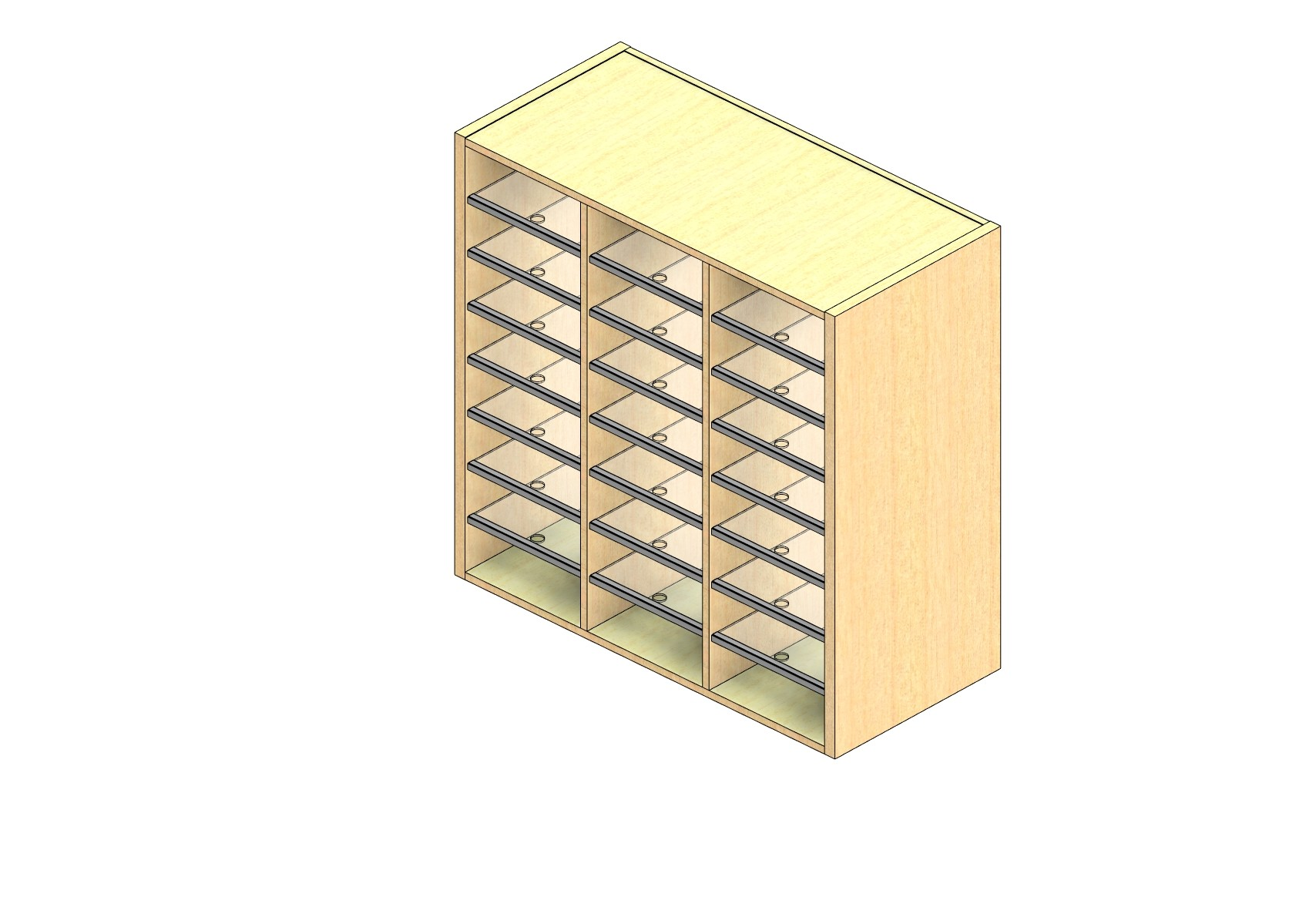 """Legal Sized Closed Back Sort Module - 3 Columns - 36"""" Sorting Height w/ No Riser"""