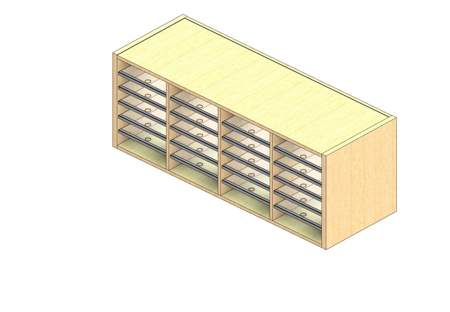 """Legal Sized Open Back Sort Module - 4 Columns - 18"""" Sorting Height w/ No Riser"""