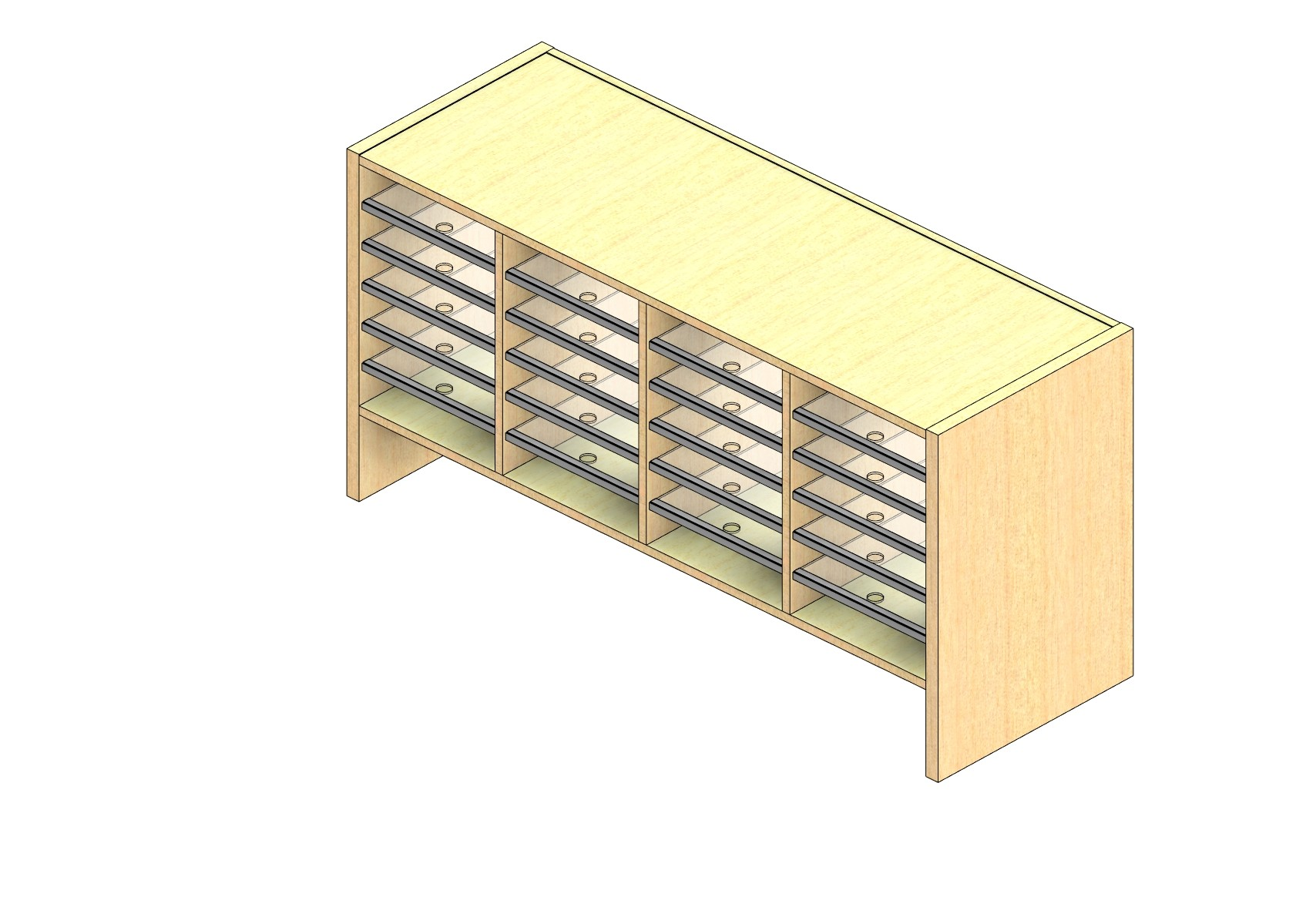 """Legal Sized Closed Back Sort Module - 4 Columns - 18"""" Sorting Height w/ 6"""" Riser"""