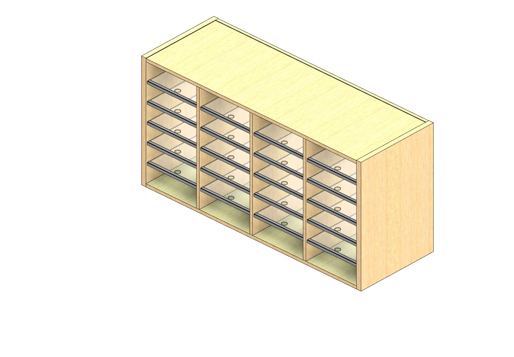 """Legal Sized Open Back Sort Module - 4 Columns - 24"""" Sorting Height w/ No Riser"""