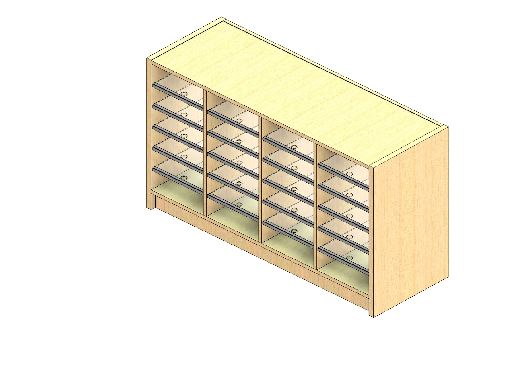 "Legal Sized Plexi Back Sort Module - 4 Columns - 24"" Sorting Height w/ 3"" Riser"